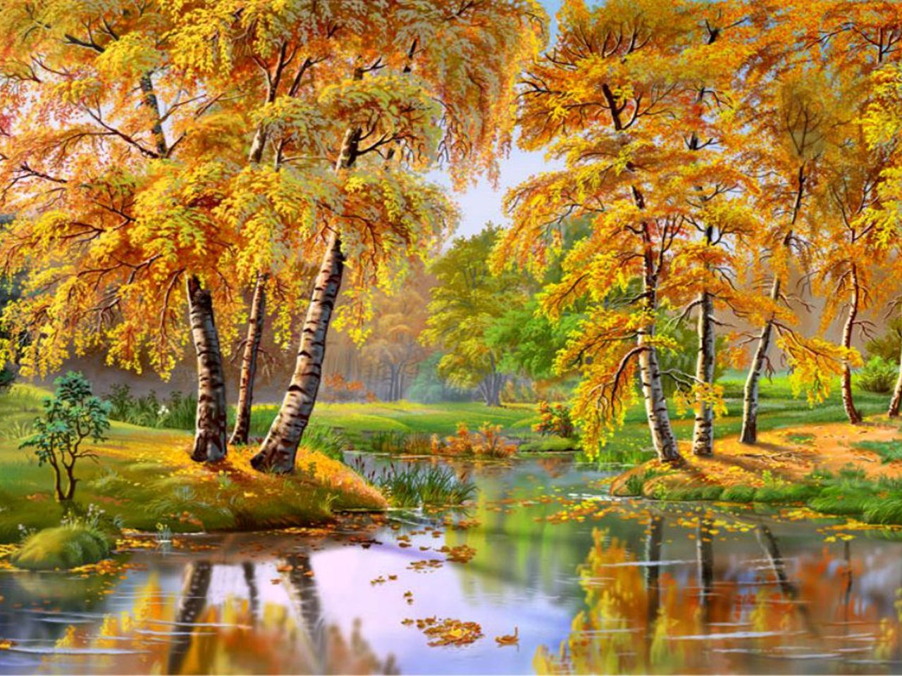 Cool Wallpapers Water Fall Wonderful Autumn Landscape River Trees 087537