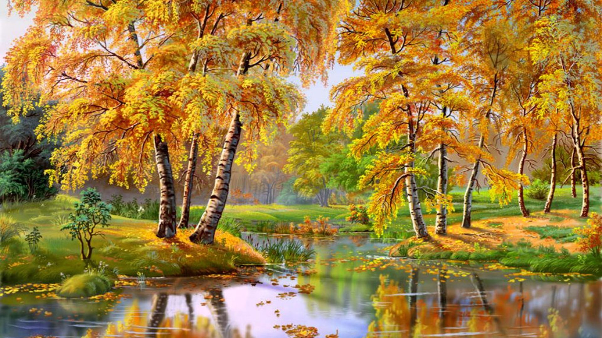 Beautiful Chinese Girl Paintings Widescreen Wallpaper Wonderful Autumn Landscape River Trees 087537