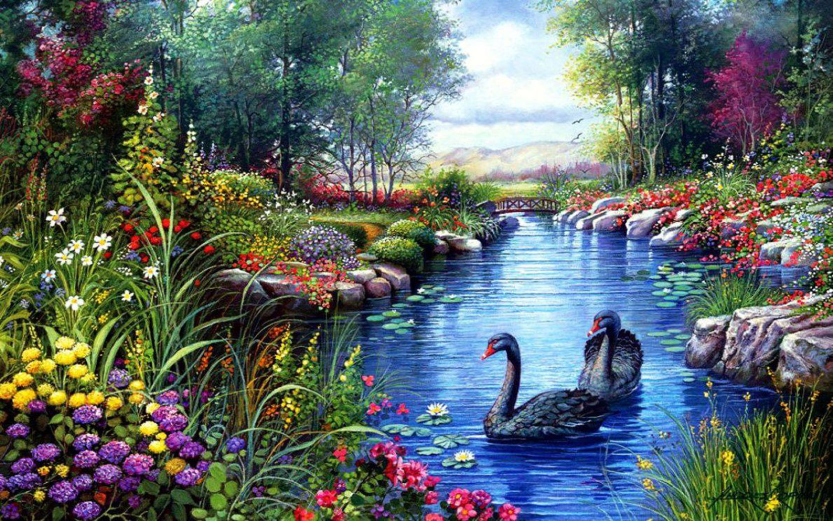Beautiful Girl With Hat Wallpapers Black Swans Trees River Flowers Painting Hd Wallpaper