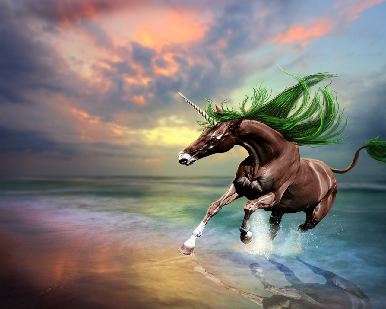 Lock Screen Wallpaper Cute Brown Horse Unicorn Art Digital Imaging Beach Sunset