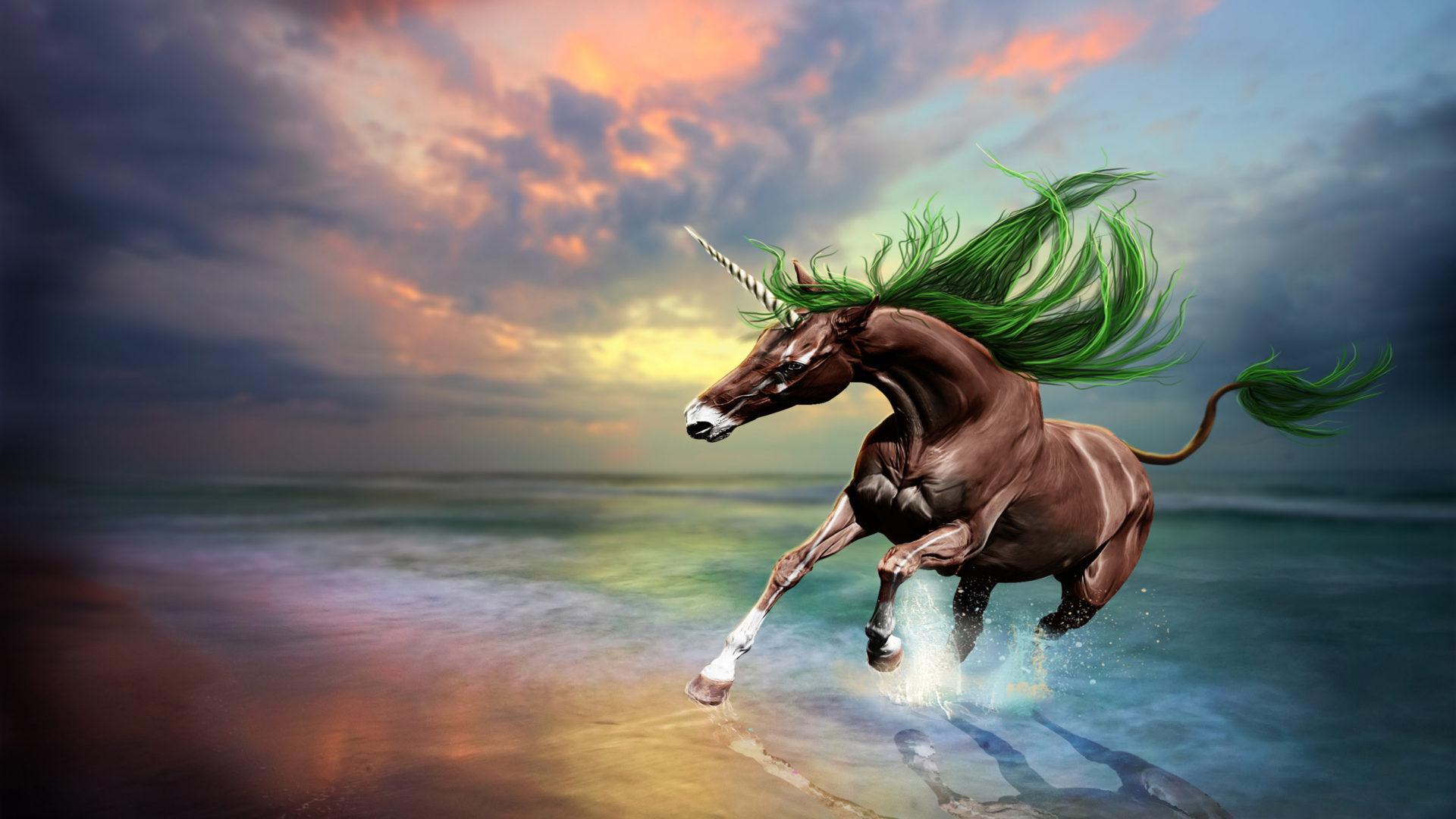 3d Snake Wallpaper Hd Brown Horse Unicorn Art Digital Imaging Beach Sunset