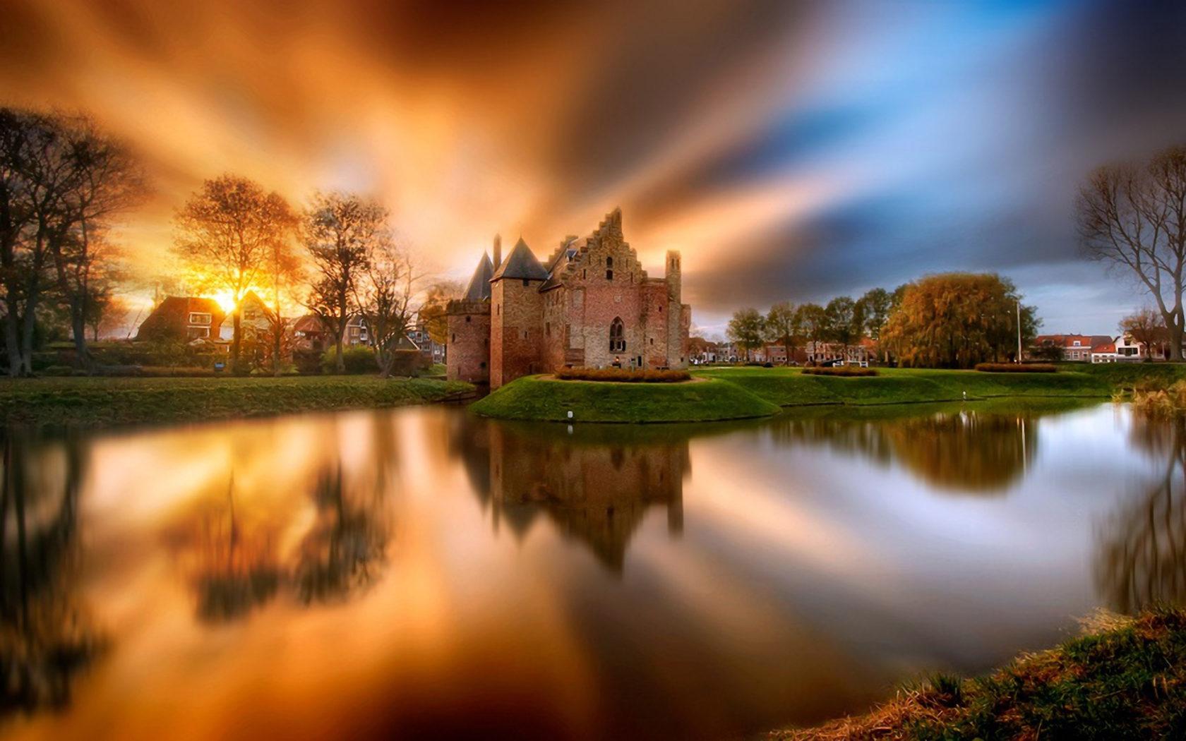 Ocean Iphone Wallpaper Hd Castle Lake Sunset Netherlands Hd Wallpaper Wallpapers13 Com