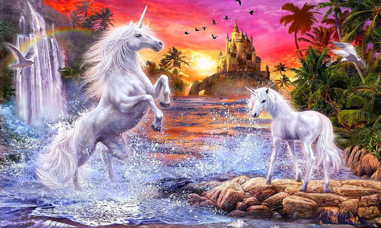Cute Small Animals Wallpapers Fantasy Unicorns Castle Sunset River Falls Palm Flowers