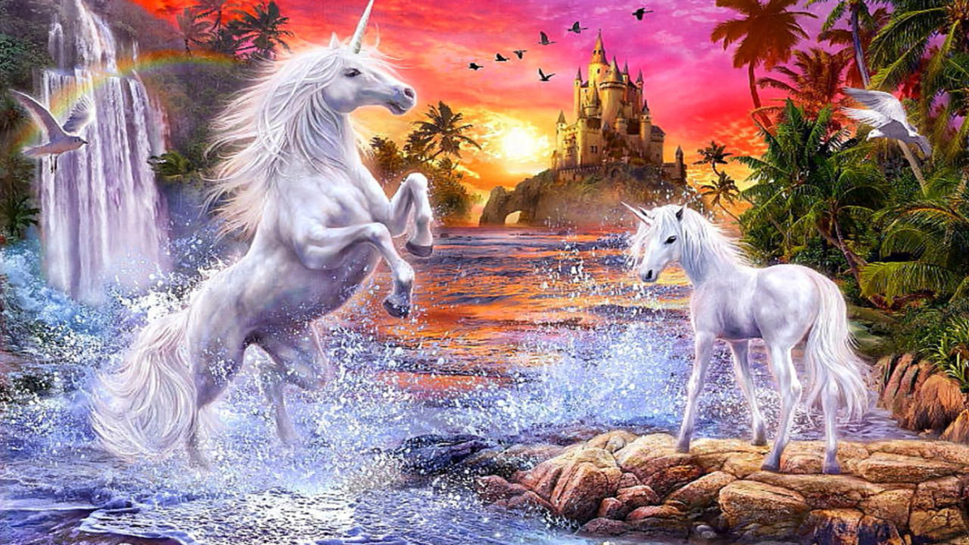 Lion Hd Wallpapers For Iphone Fantasy Unicorns Castle Sunset River Falls Palm Flowers