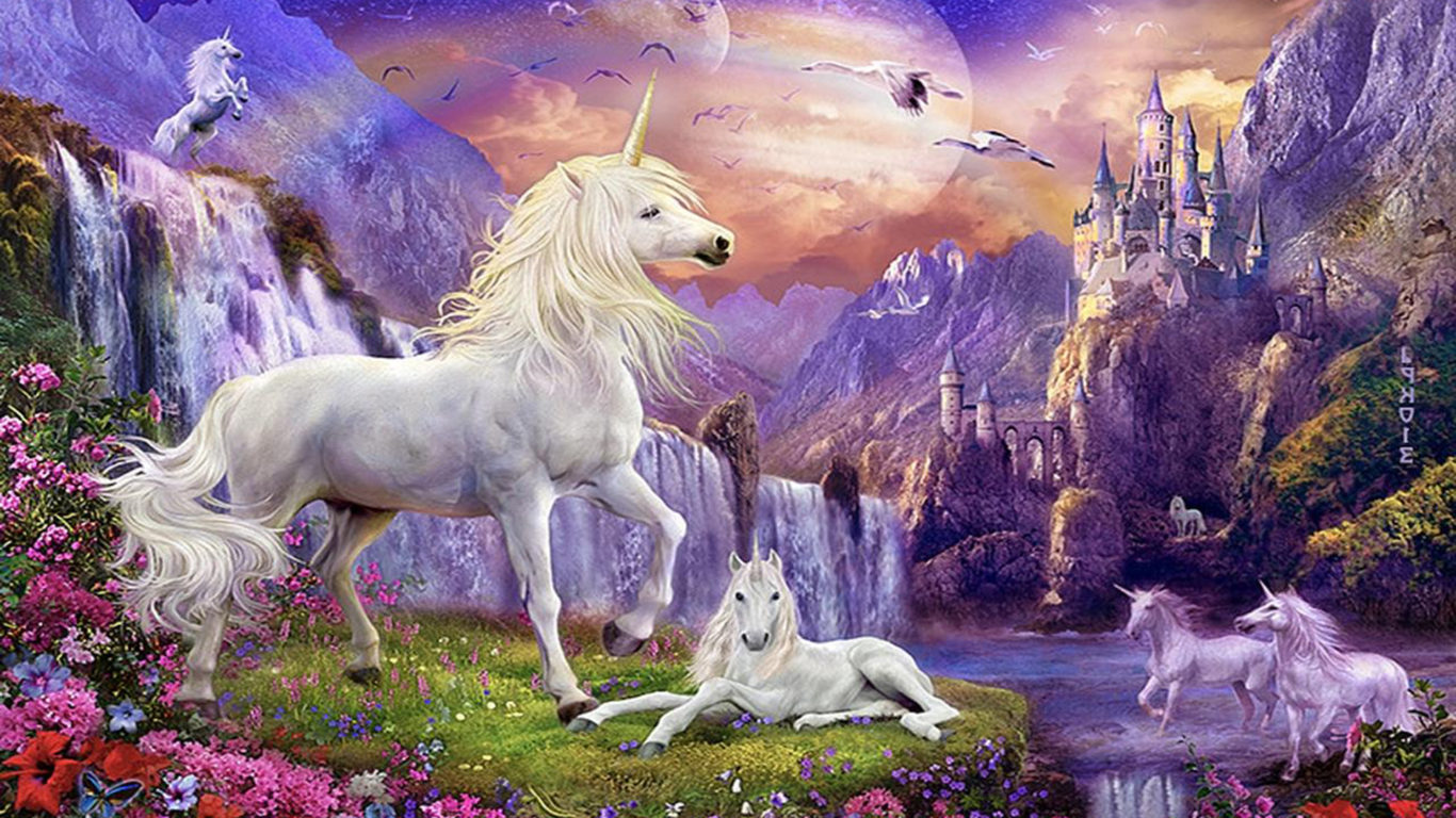 Free Fall Cartoon Wallpaper Fantasy Wallpaper Hd Unicorns Horse Castles Waterfalls