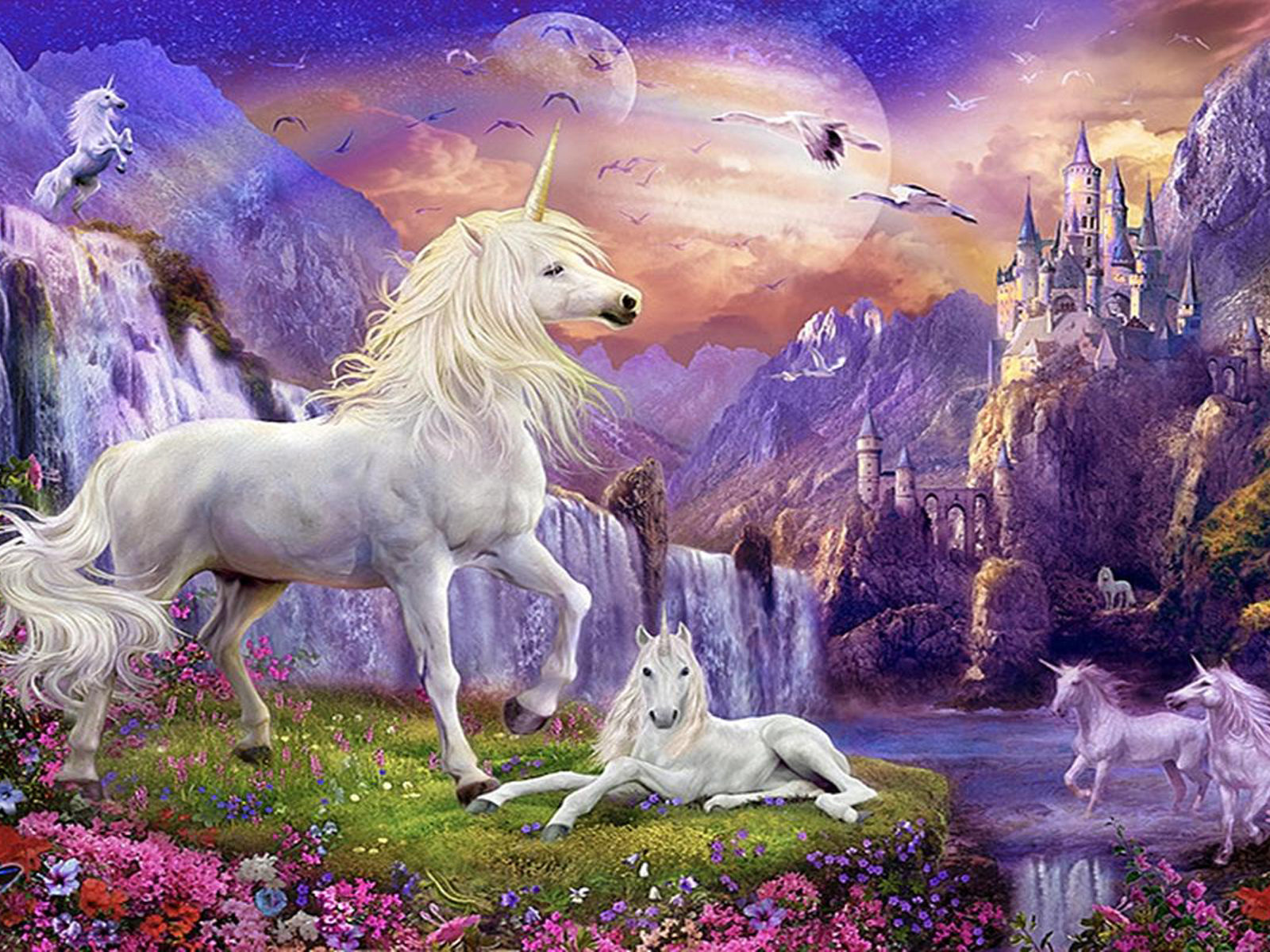 Green Animal Wallpaper Fantasy Wallpaper Hd Unicorns Horse Castles Waterfalls