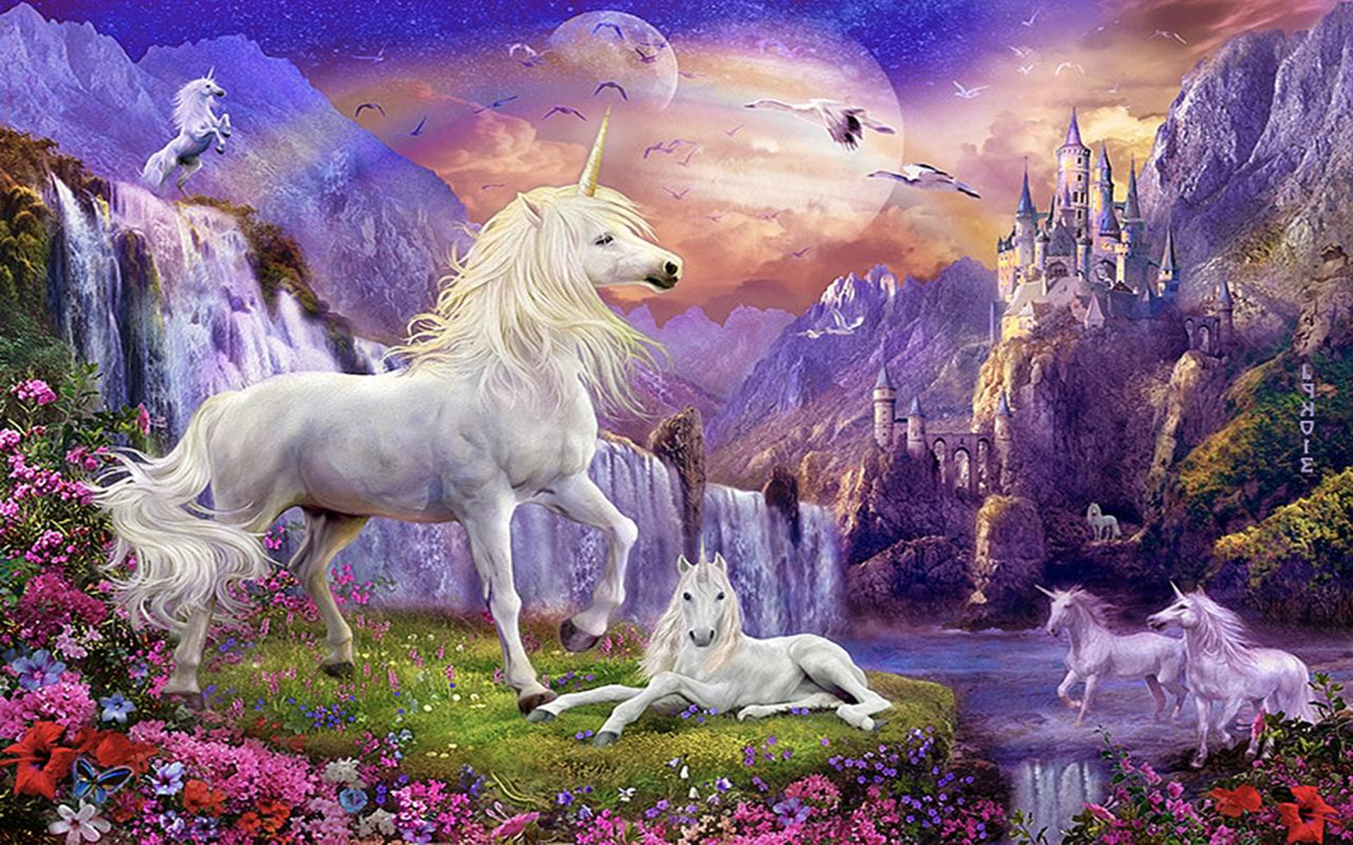 Free Iphone Wallpapers Cute Fantasy Wallpaper Hd Unicorns Horse Castles Waterfalls