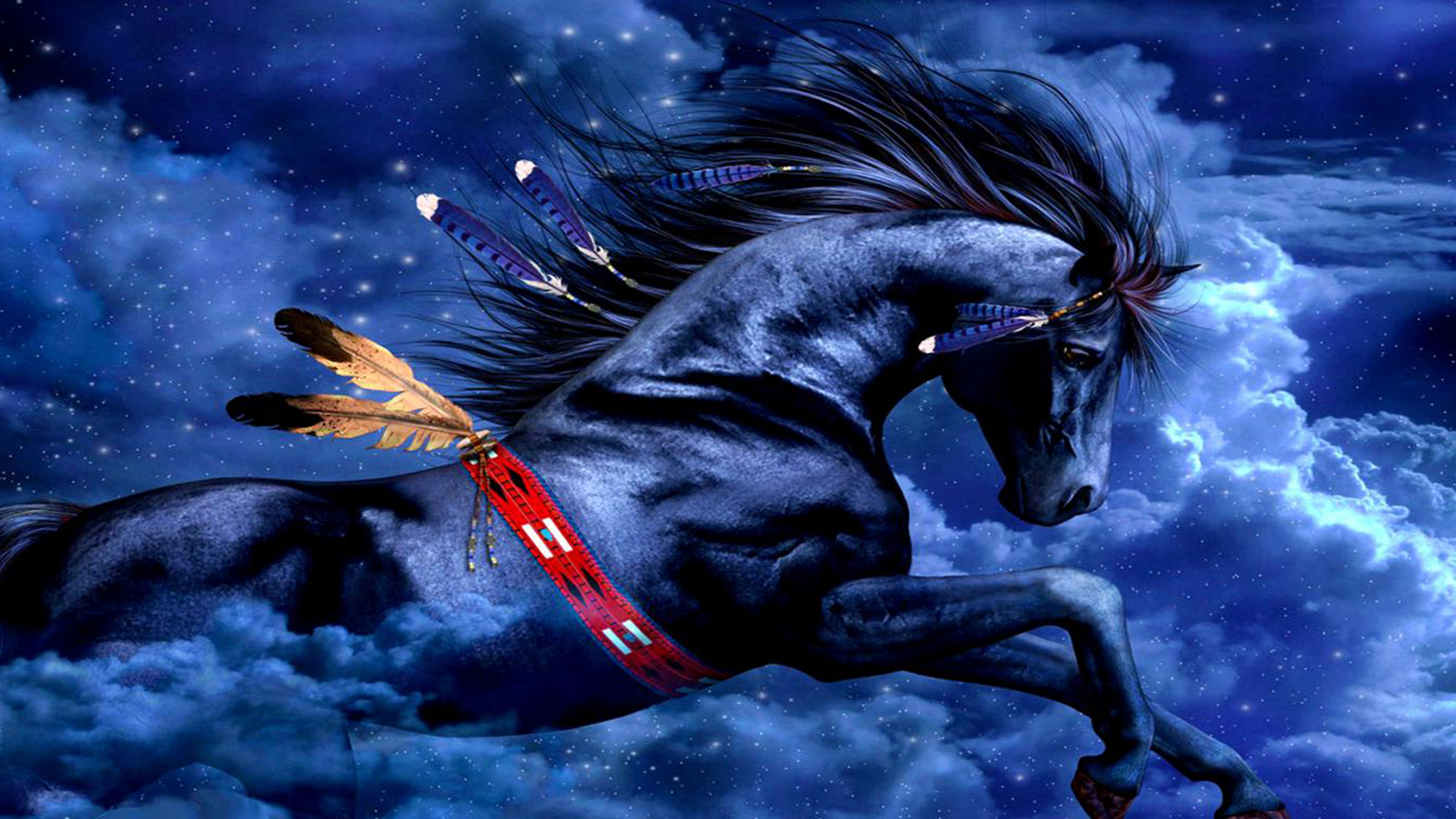 India Flag Wallpaper 3d Fantasy Digital Art Blue Indian Horse Wallpaper Design
