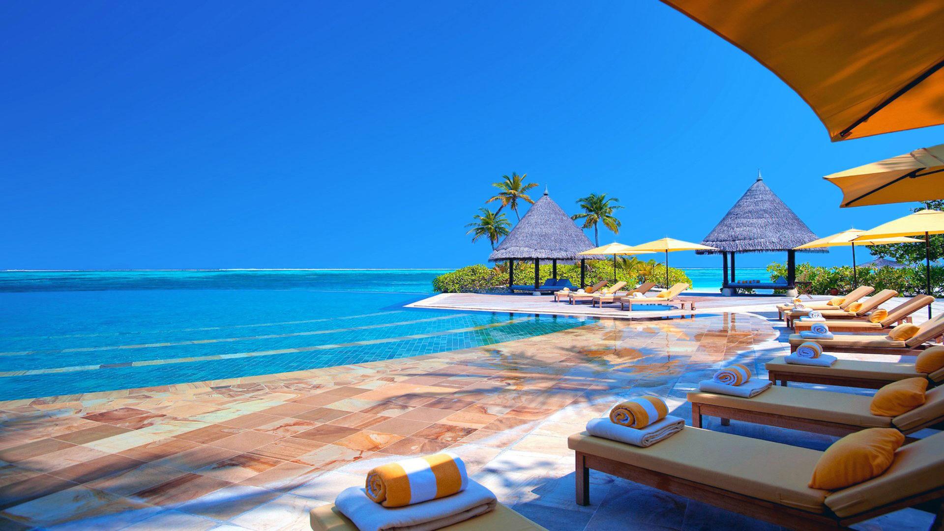 Surfer Girl Wallpaper 1440x900 Hotel Terrace Chairs Ocean Maldives Hd Wallpaper 2560x1440