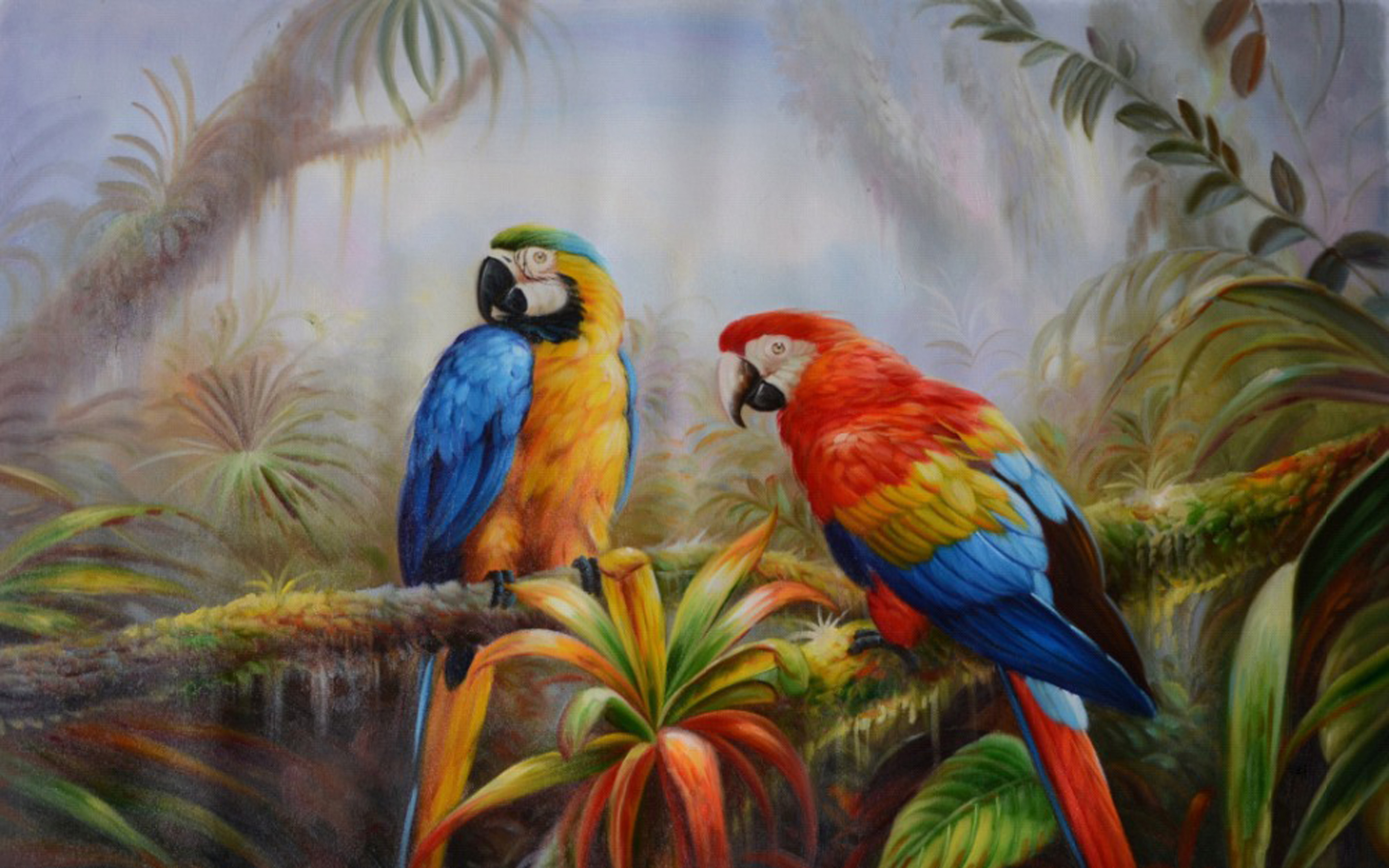 Fantasy Forest 3d Desktop Wallpaper Jungle Parrot Exotic Birds Pictures Download Hd Wallpaper