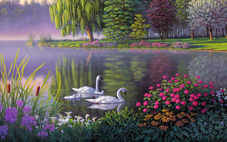 Fall Wallpaper Hd Iphone 5 Landscape Swan Lake Trees Flowers Art Wallpaper Hd