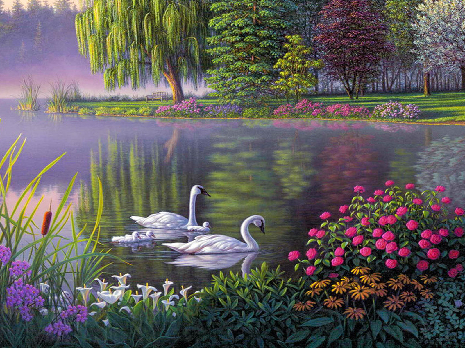 Fantasy Girl Wallpaper Hd Landscape Swan Lake Trees Flowers Art Wallpaper Hd