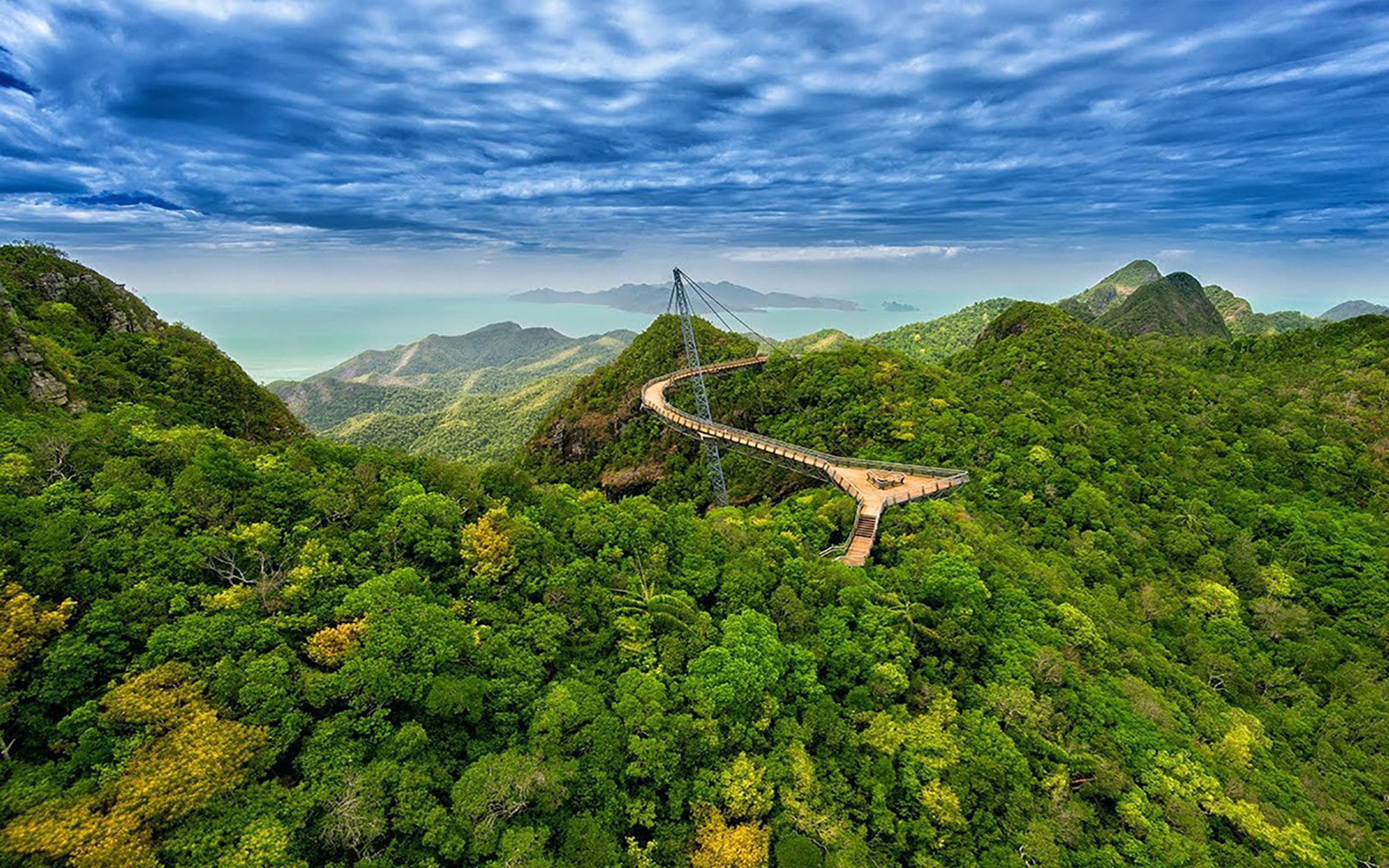 Hd Exotic Car Wallpapers 1920x1080 Langkawi Sky Blue Green Forest Bridge Malaysia Wallpaer Hd