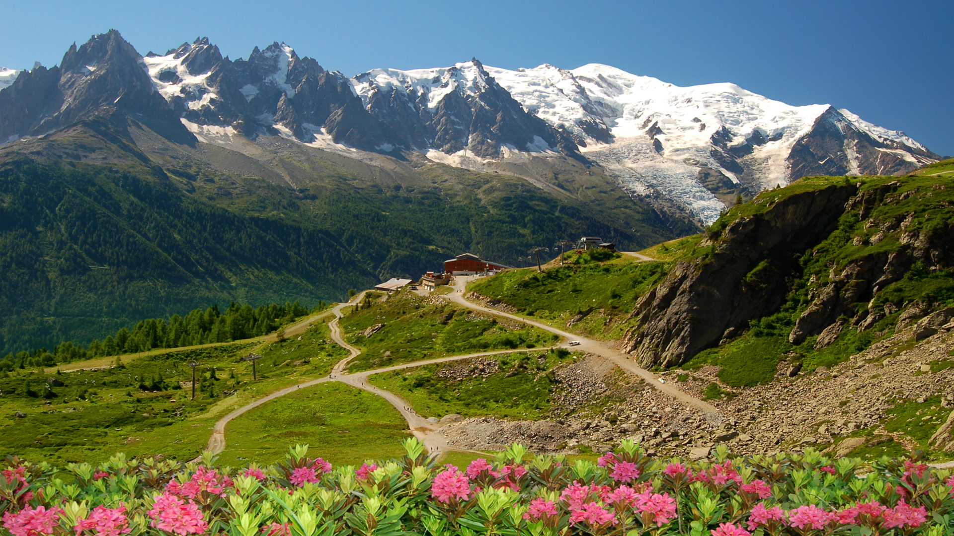 Clear Wallpaper Iphone X Mont Blanc Glacier Flowers Snow Mountain Lodge Time