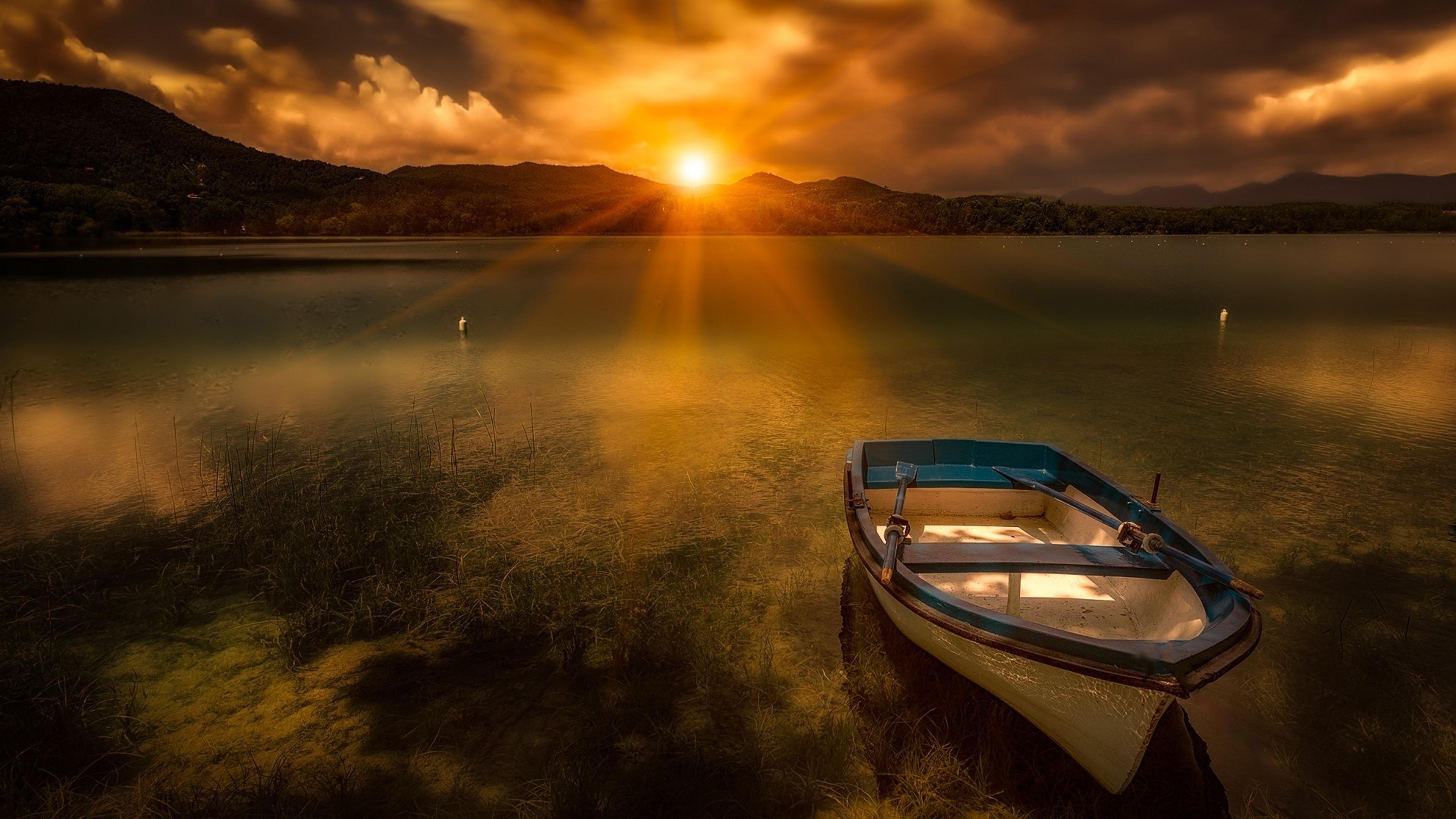 Canvas Hi Beautiful 3d Wallpaper Morning Sunrise Sun Lake Boat Evaporation Fog Hd Wallpaper