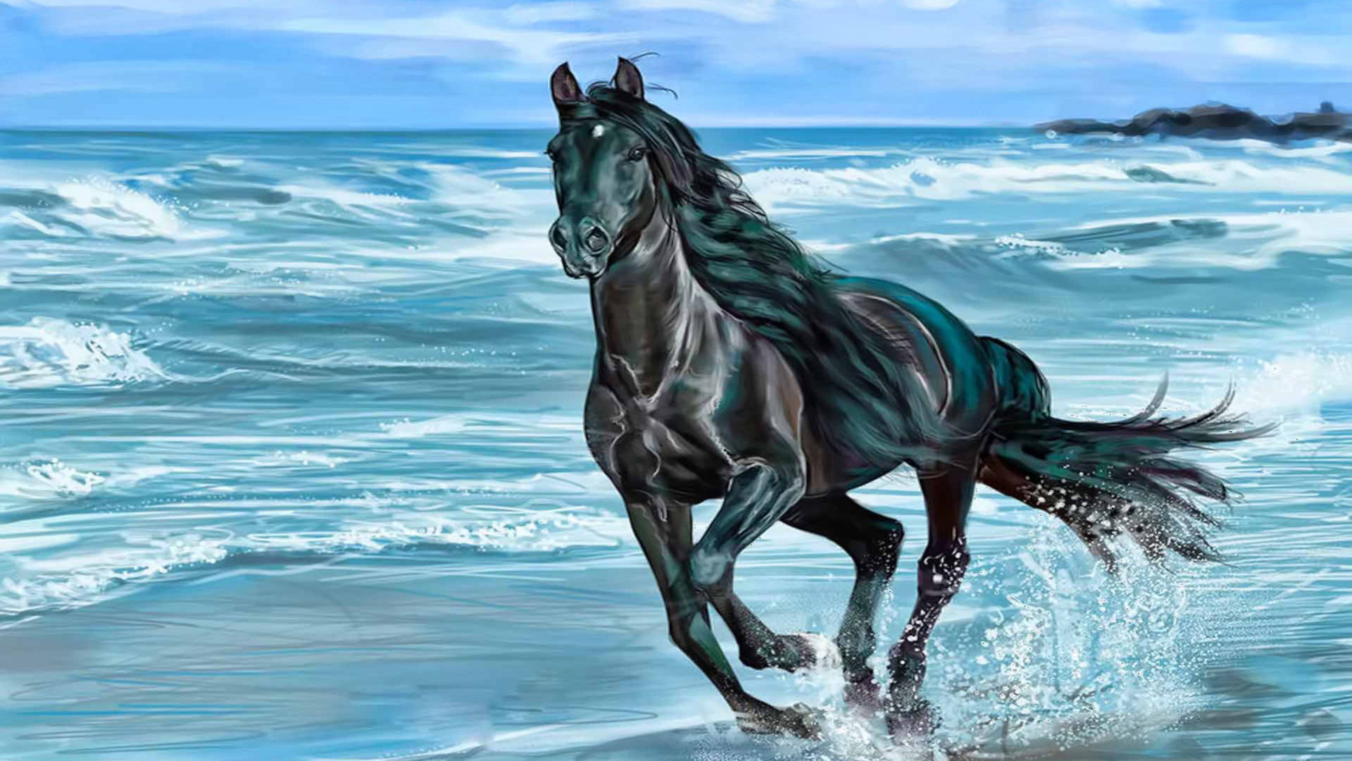 Cute Small Animals Wallpapers Running Horse Animals Beach Beauty Horse Nature Sea Wave