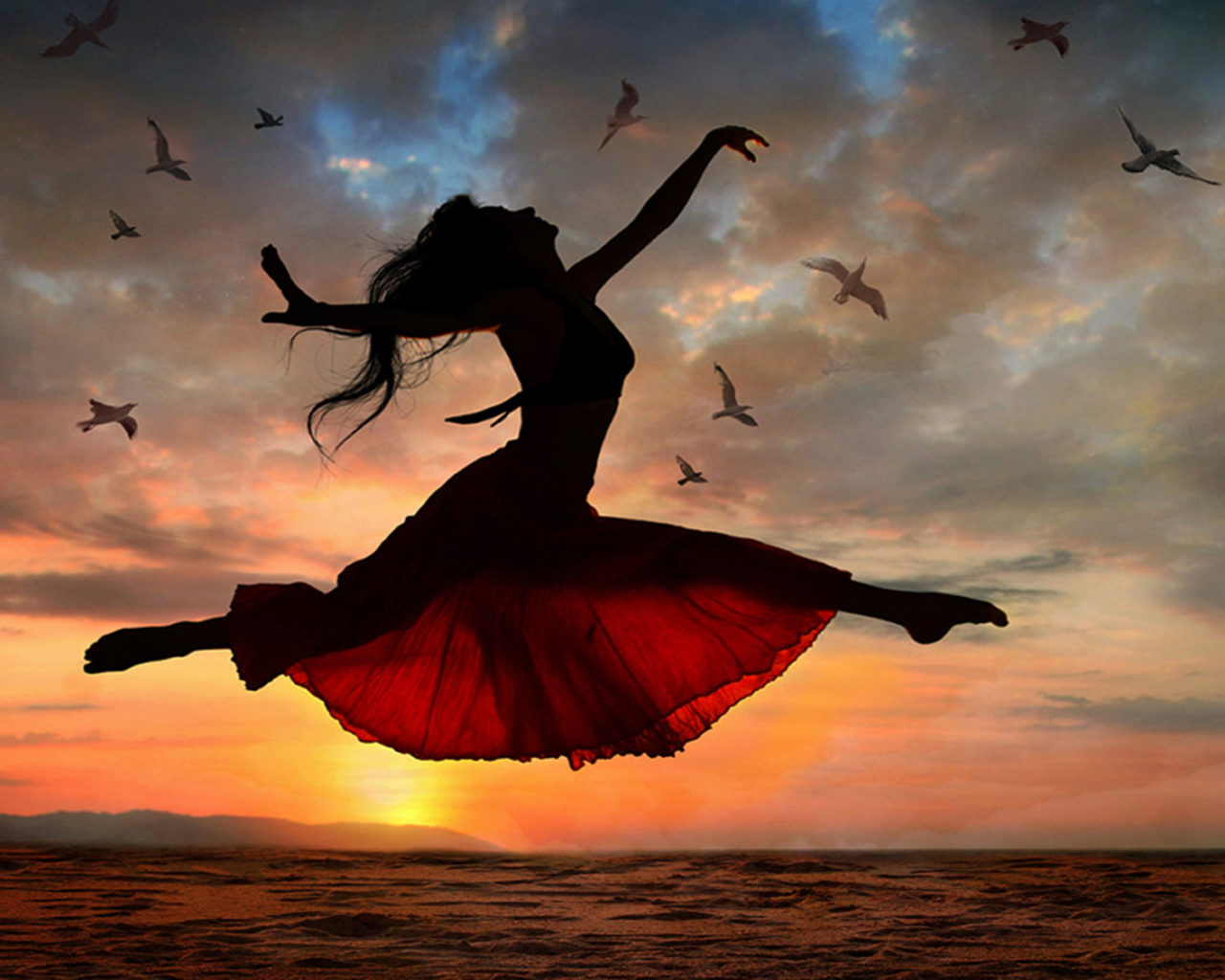 Trippy Wallpapers Hd Iphone Sea Gulls Sunset Dancing Of The Girl Hd Wallpaper