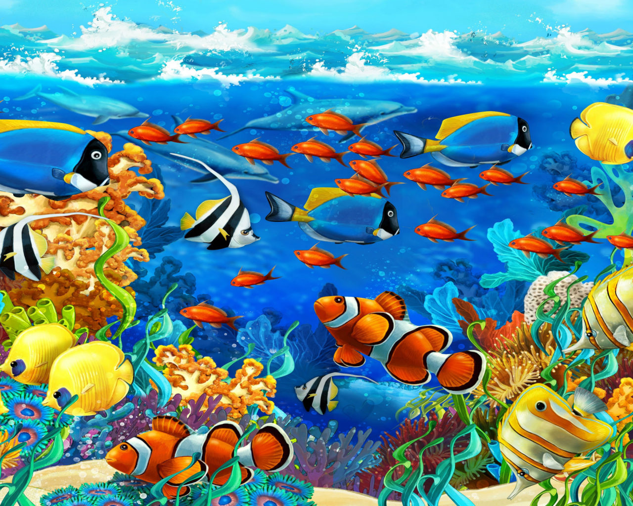 Free 3d Dinosaur Wallpaper Sea Underwater World Coral Exotic Tropical Fish