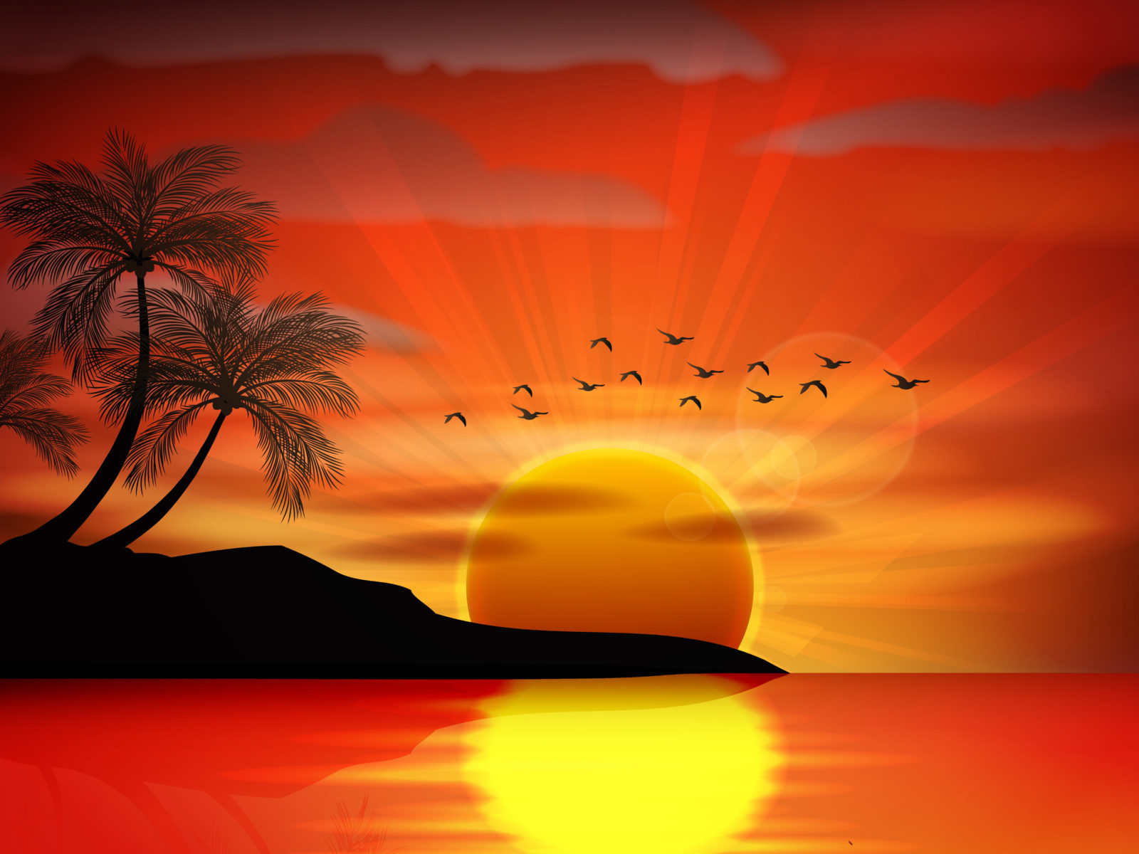Iphone 5 Wallpaper Gold Sunset Sea Paradise Tropical Island Palms Silhouette Birds