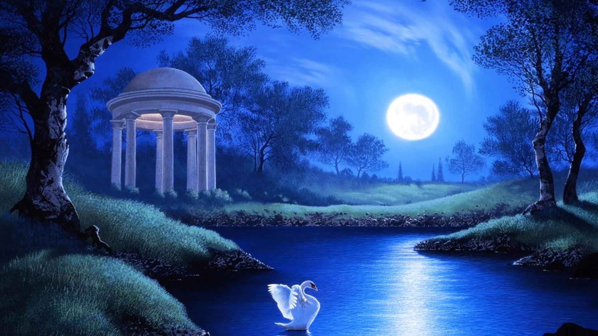 Halloween Fall Iphone Wallpaper Swan Lake Night Full Moon Trees Grass Hd Wallpaper
