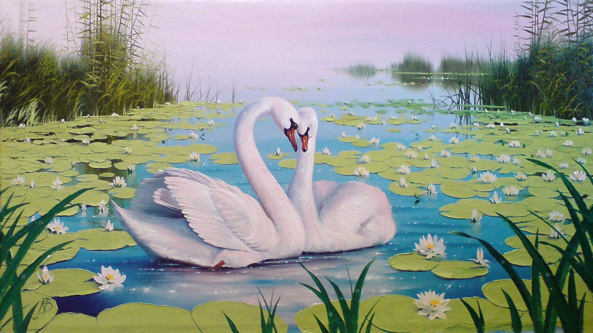 Hd Thanksgiving Wallpaper Free Swan Lake Color Lotus Reeds Art Background Wallpapers13 Com