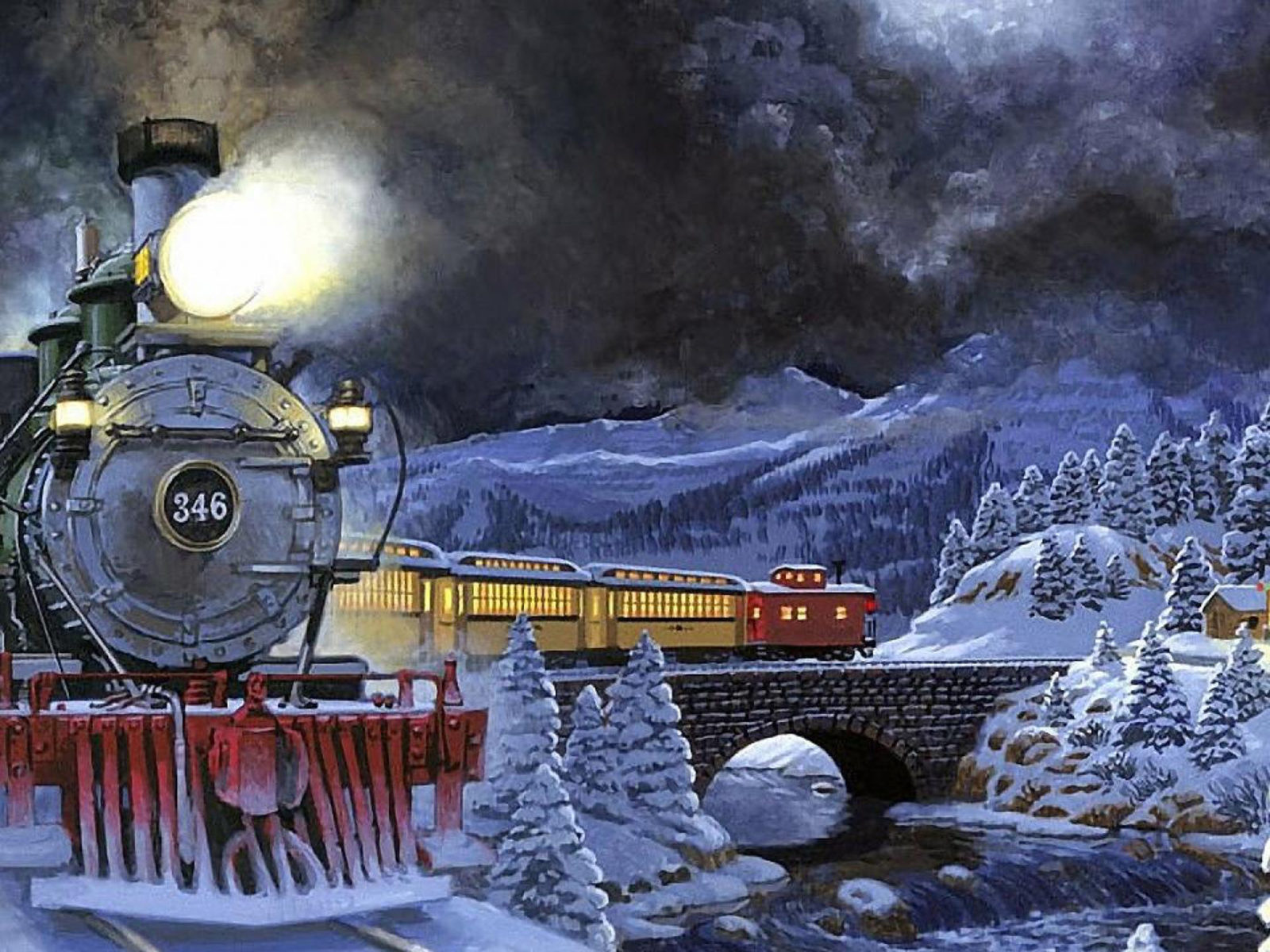 Dota 2 3d Wallpaper For Pc Winter Night Moving Train Light Snow Trees Stone Bridge