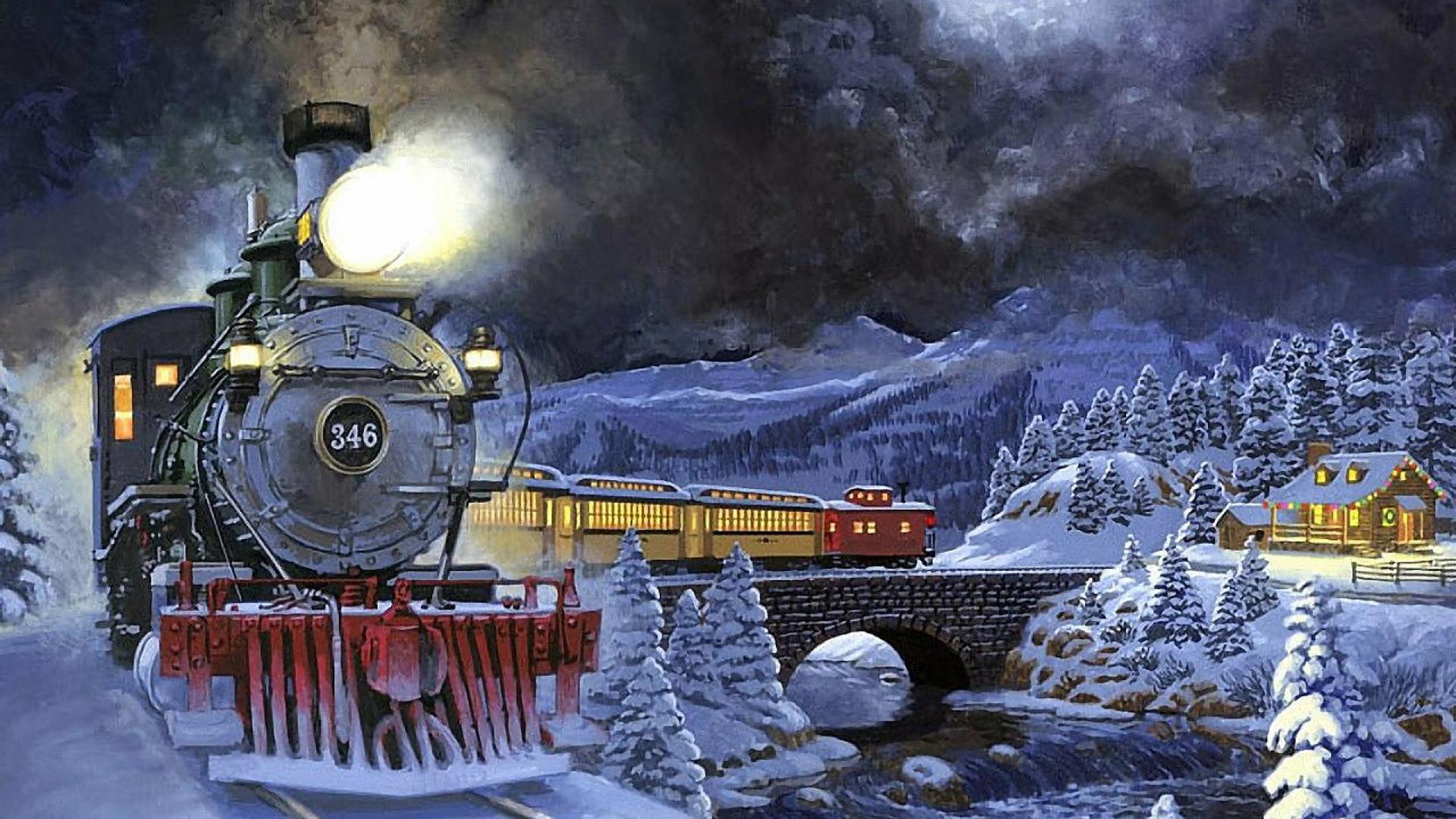 3d Snowy Cottage Animated Wallpaper Free Download Winter Night Moving Train Light Snow Trees Stone Bridge