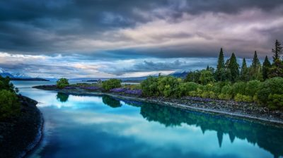 Evening On The Blue Lake Tekapo Desktop Wallpaper Hd Widescreen Free Download : Wallpapers13.com