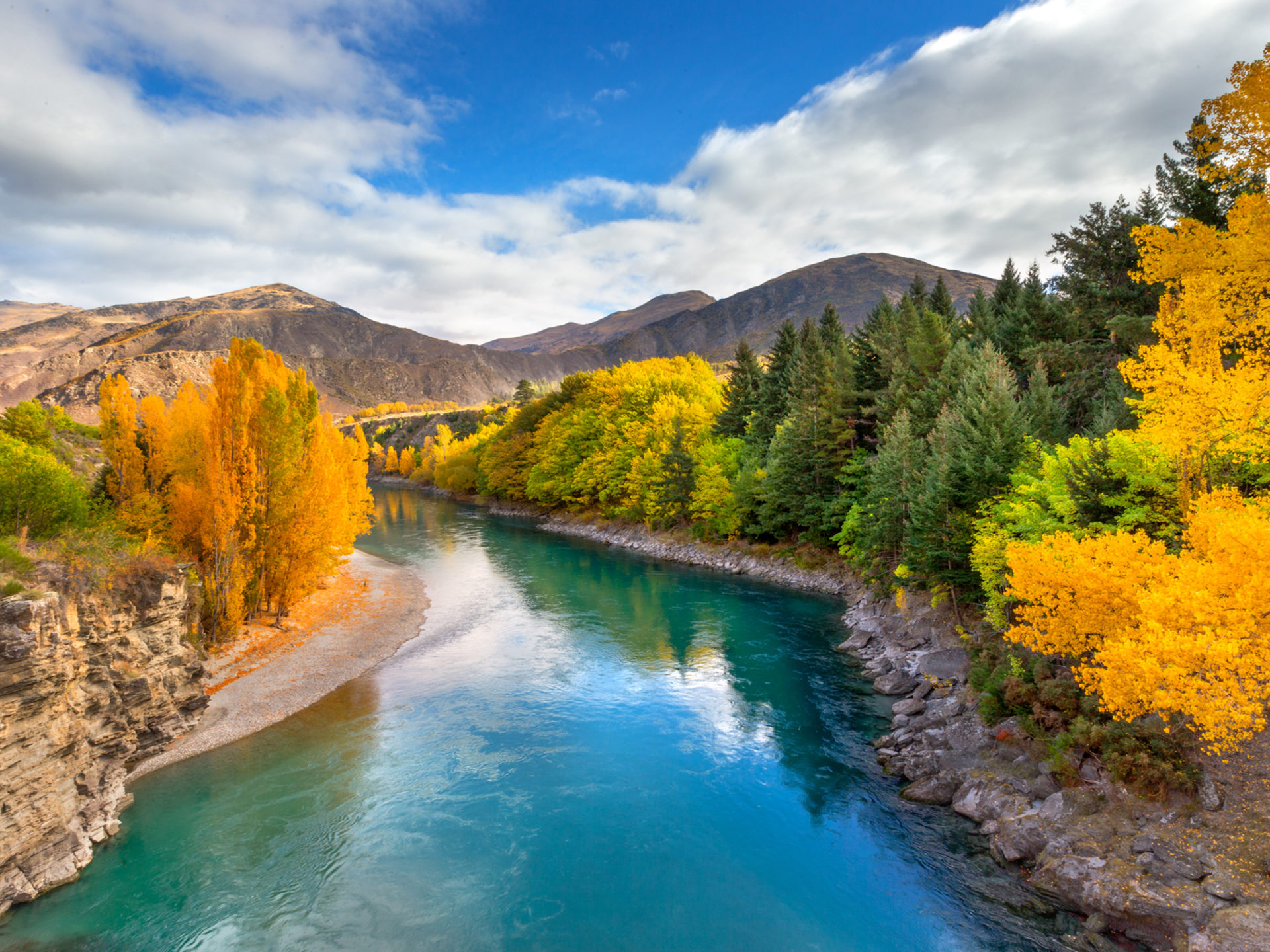 Fall Desktop Wallpaper 1920x1080 Landscape Wallpaper Hd Emerald River Queenstown New