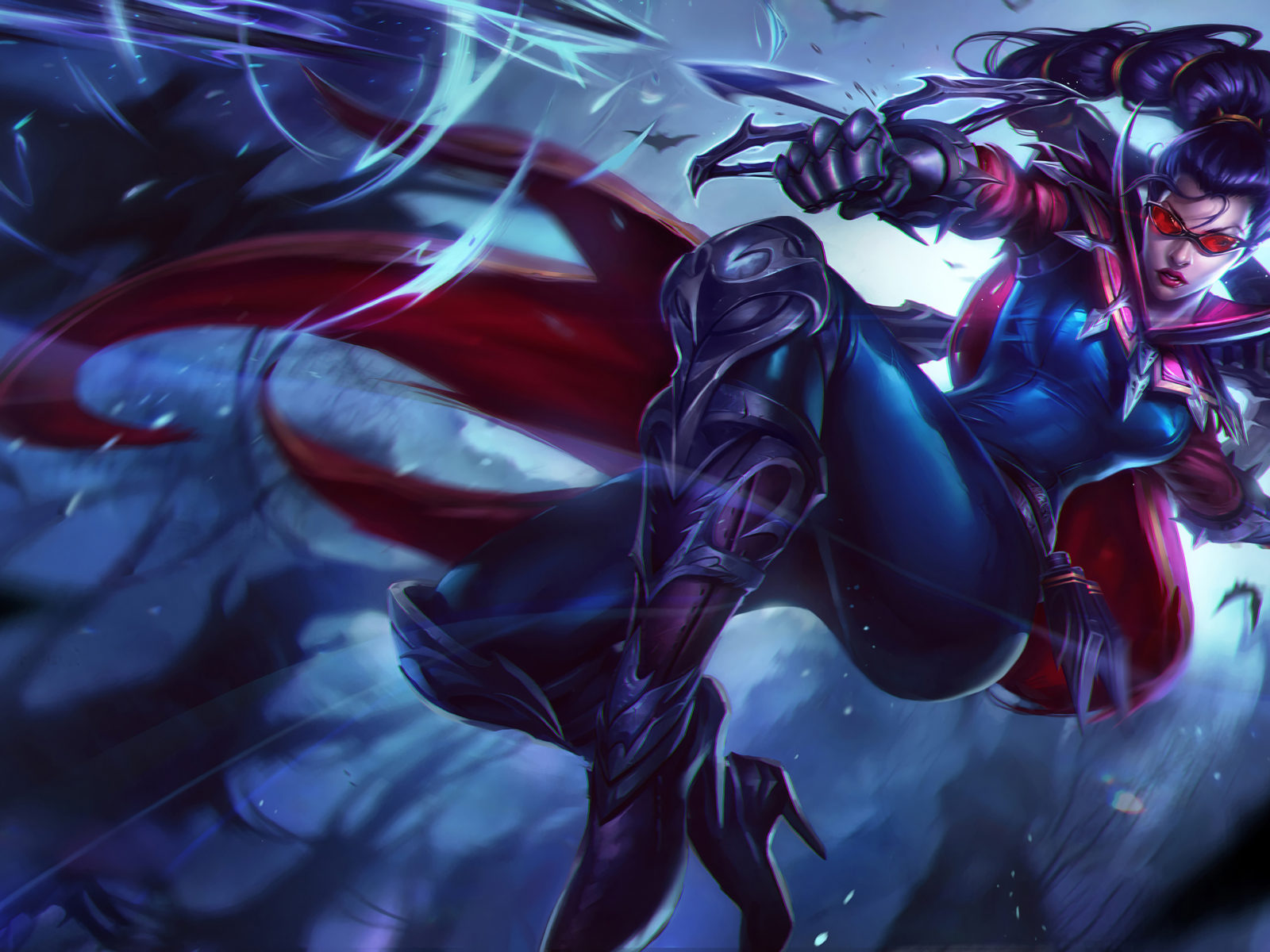 Wallpaper 3840 1200 Girl League Of Legends Fantasy Game Vayne Splash Art Hd