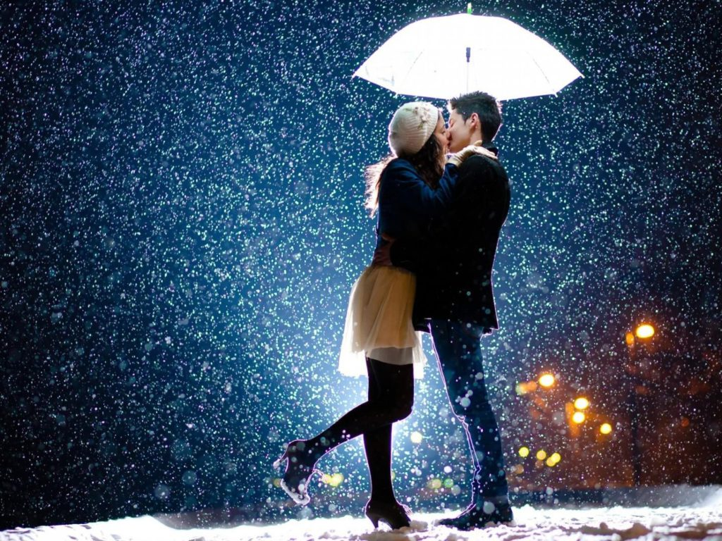 3d Valentine Wallpapers Free Love Couple Kissing The Snow Romantic Couple Wallpapers