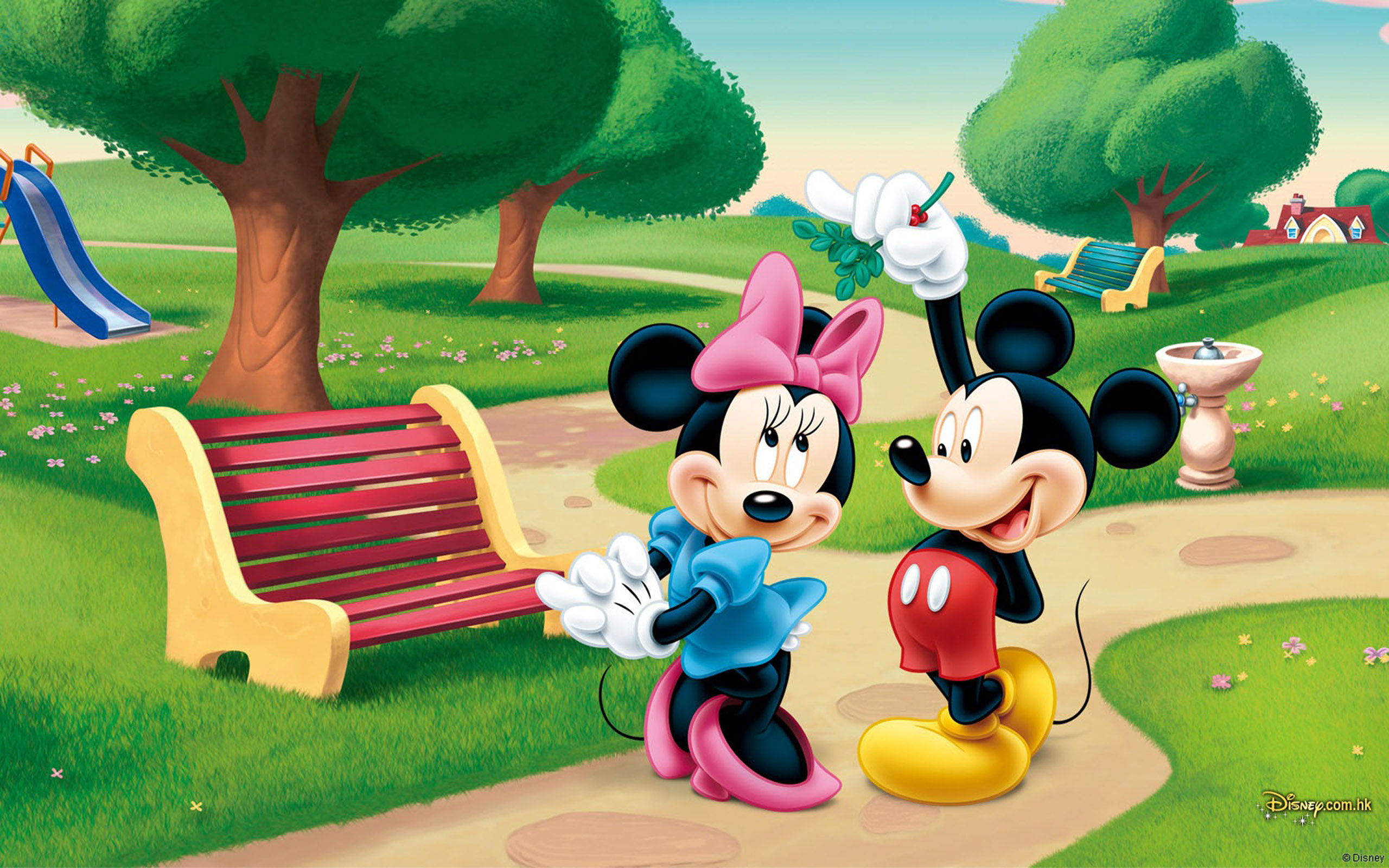 Hd Lock Screen Wallpaper Android Mickey Mouse And Minnie Mouse In The Park Desktop