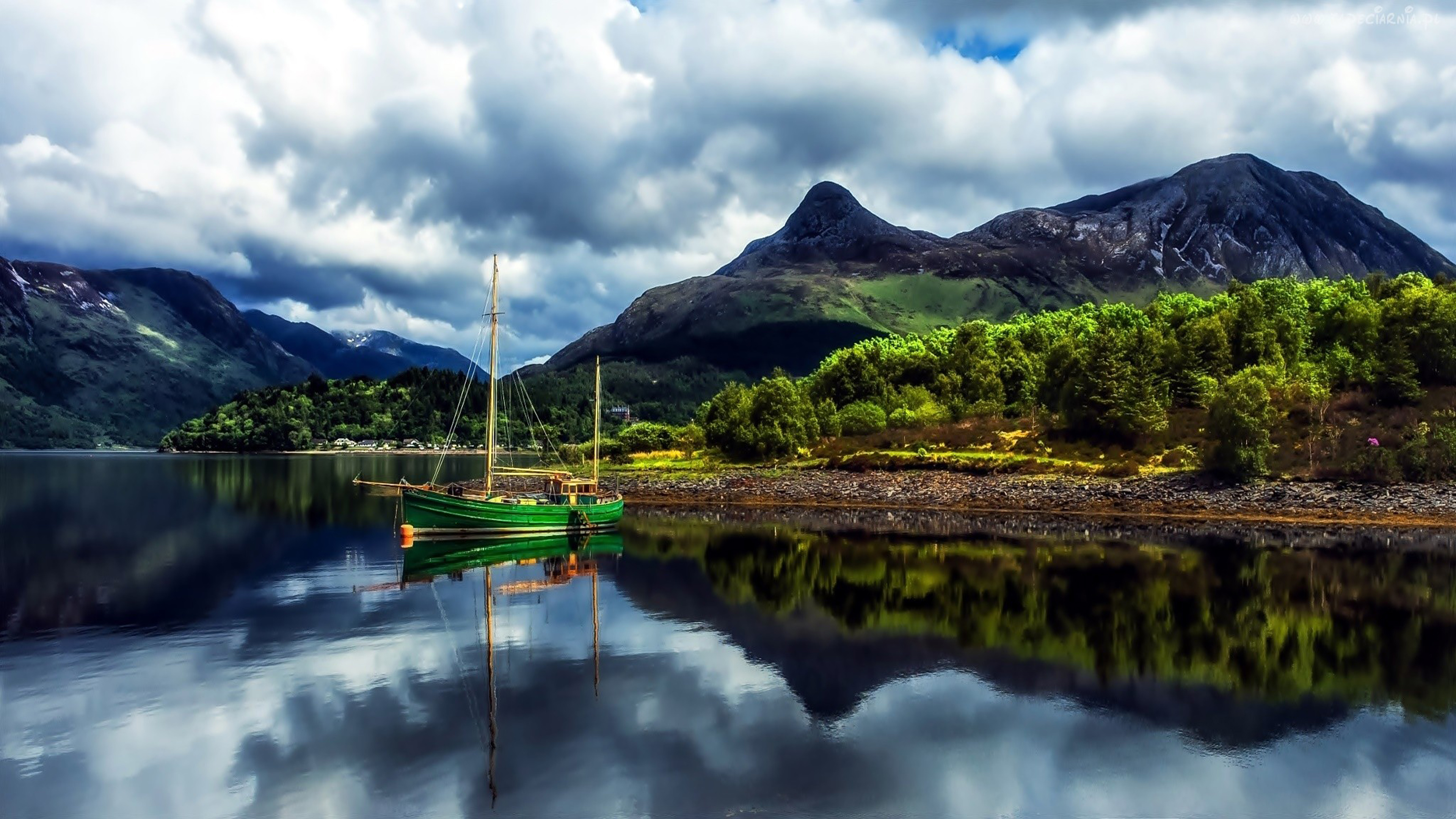 Fall River Wallpaper Nature Landscape Mountains Lake Green Boat With Sails