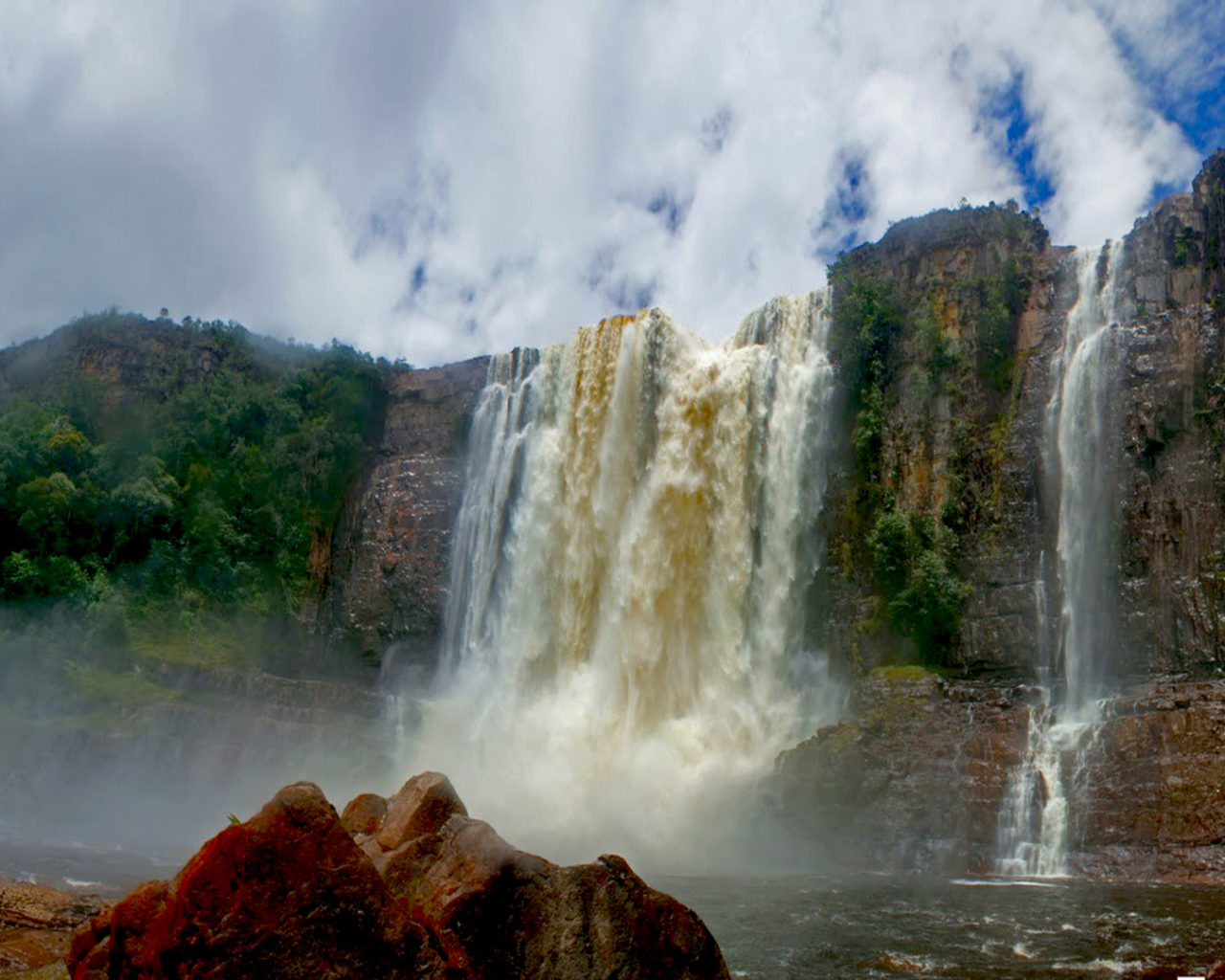 1366x768 Fall Wallpapers Angel Falls Guayana Canaima National Park Venezuela Hd