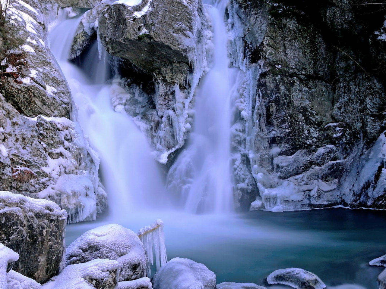 Water Fall Wallpaper Hd For Desktop Free Download Beautiful Waterfall Winter Snow Ice Rock Picture With