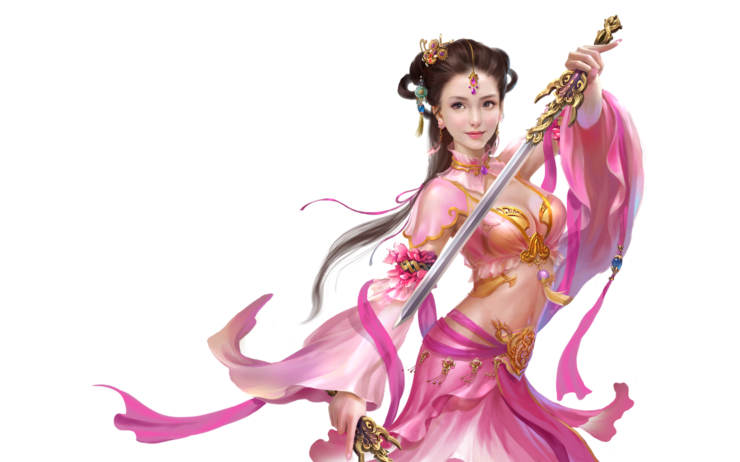 Samsung Galaxy S6 Wallpaper Anime Demon Girls Beautiful Girl Pink Silk Clothes Jewelry Sword In Hand