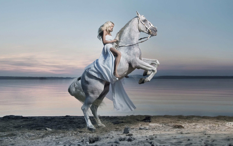 Beautiful Girl X1080 Blue Girl On A White Horse Lake Hd Desktop Wallpaper