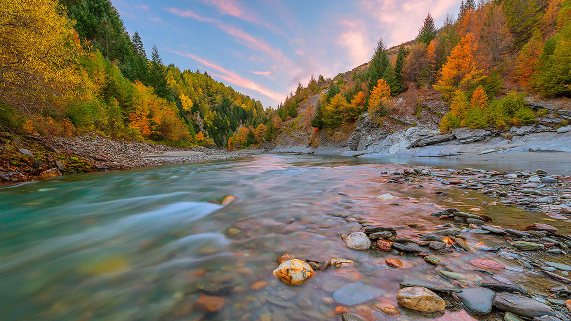 Foggy Fall Wallpaper Canyon In Autumn Colors Mountain River Stones Gravel Tree