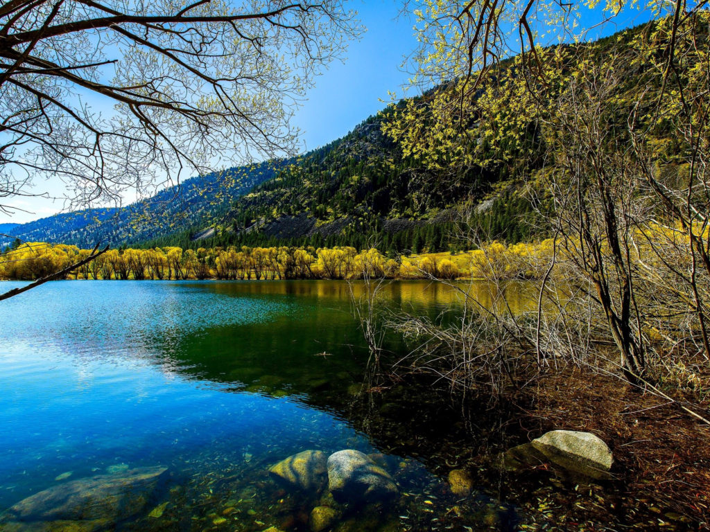 Free Fall Screen Wallpaper Fall Lake Stones Trees With Yellow Leaves Hills With