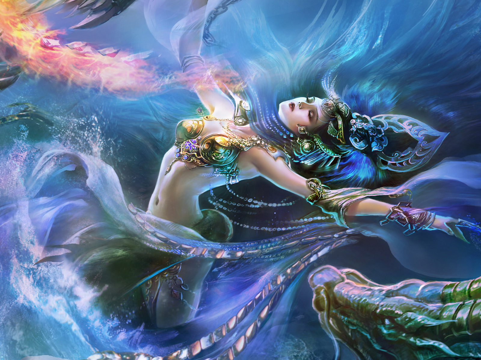 Android Girl Live Wallpaper Fantasy Girl Water And Fire Dragon Jewelry Crown Art