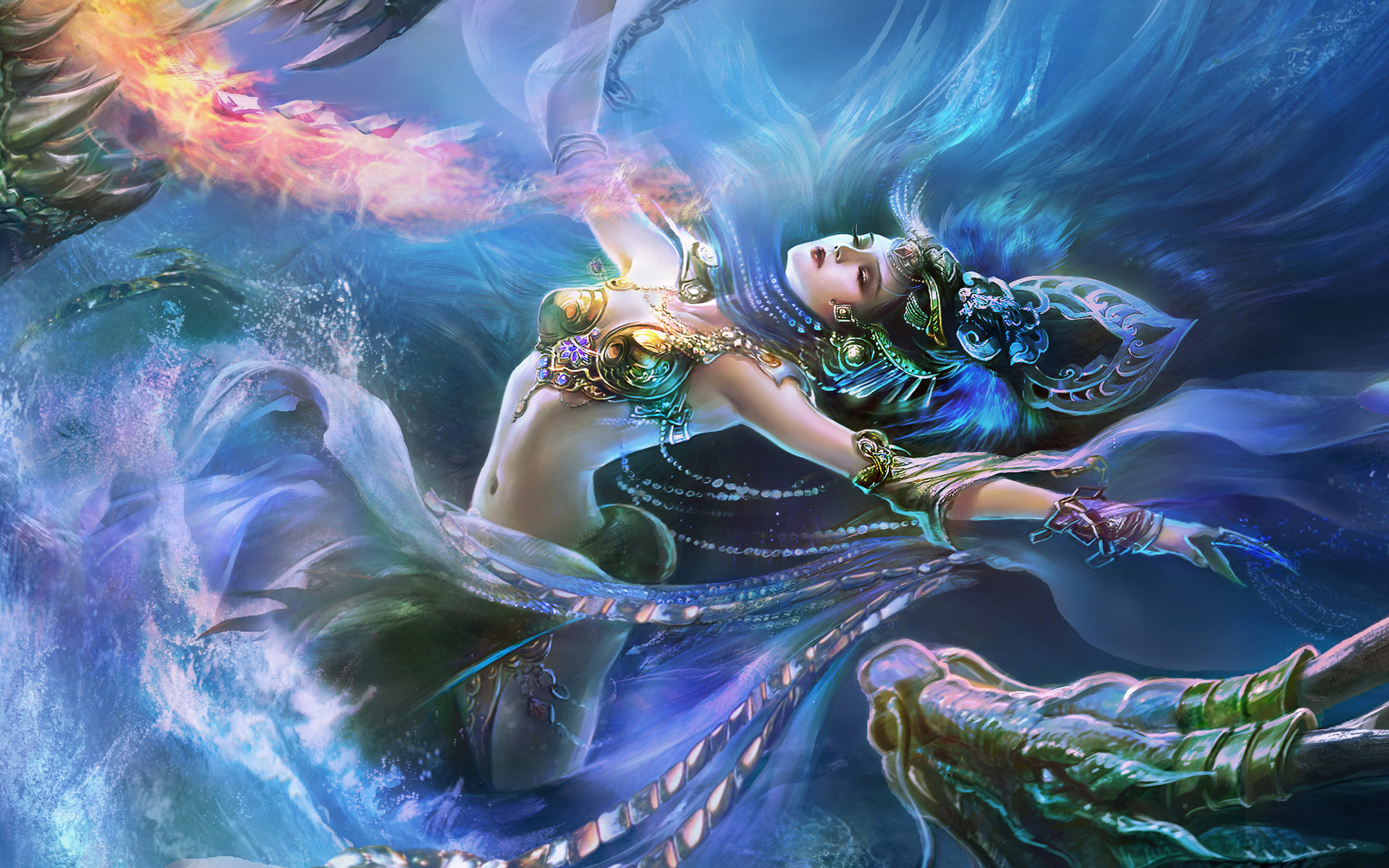 Asian Girl Hd Wallpaper 1920x1200 Fantasy Girl Water And Fire Dragon Jewelry Crown Art