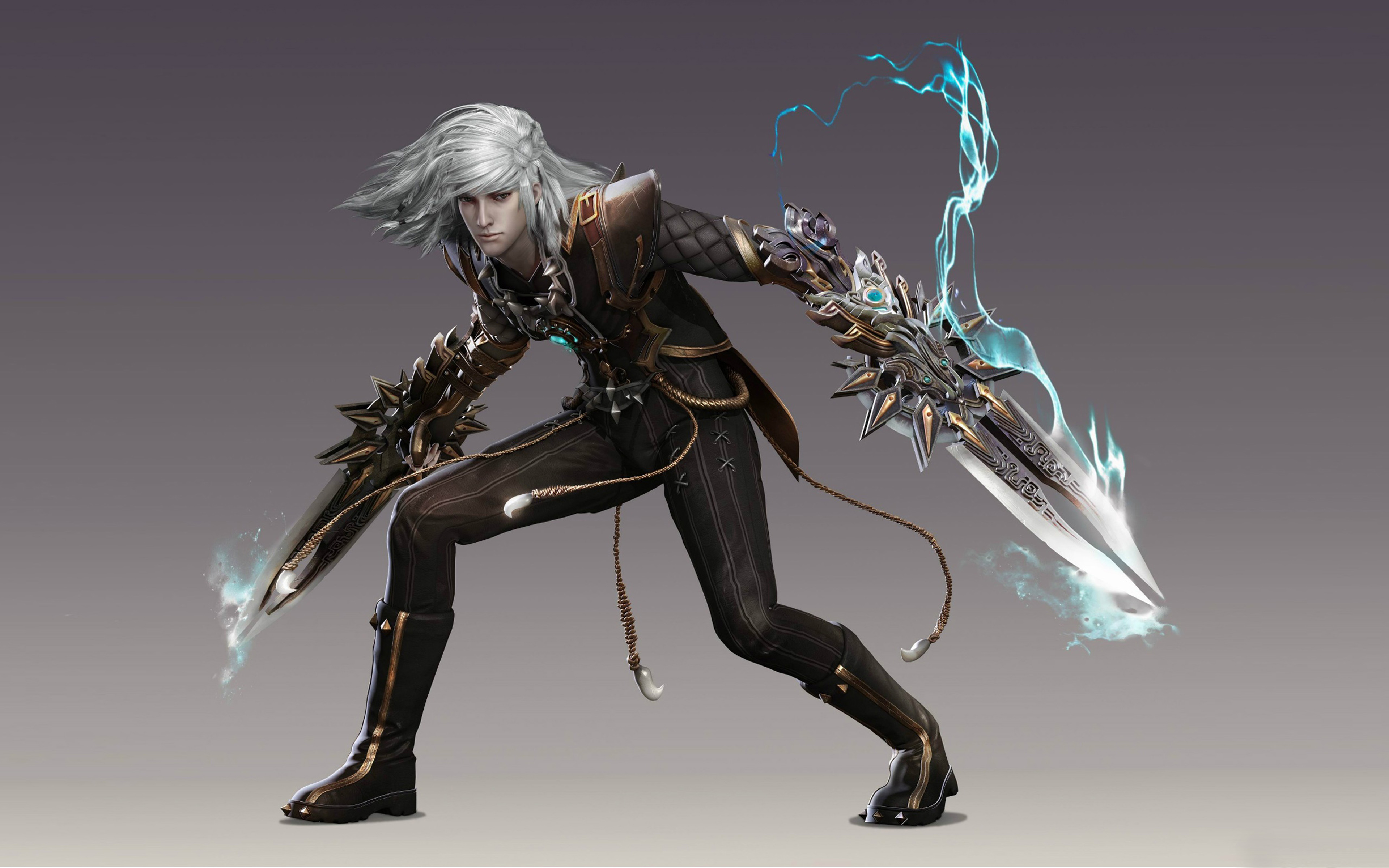Free Iphone 3d Wallpapers Fighter Boy Blue Haired Warrior With Swords Fantasy Art