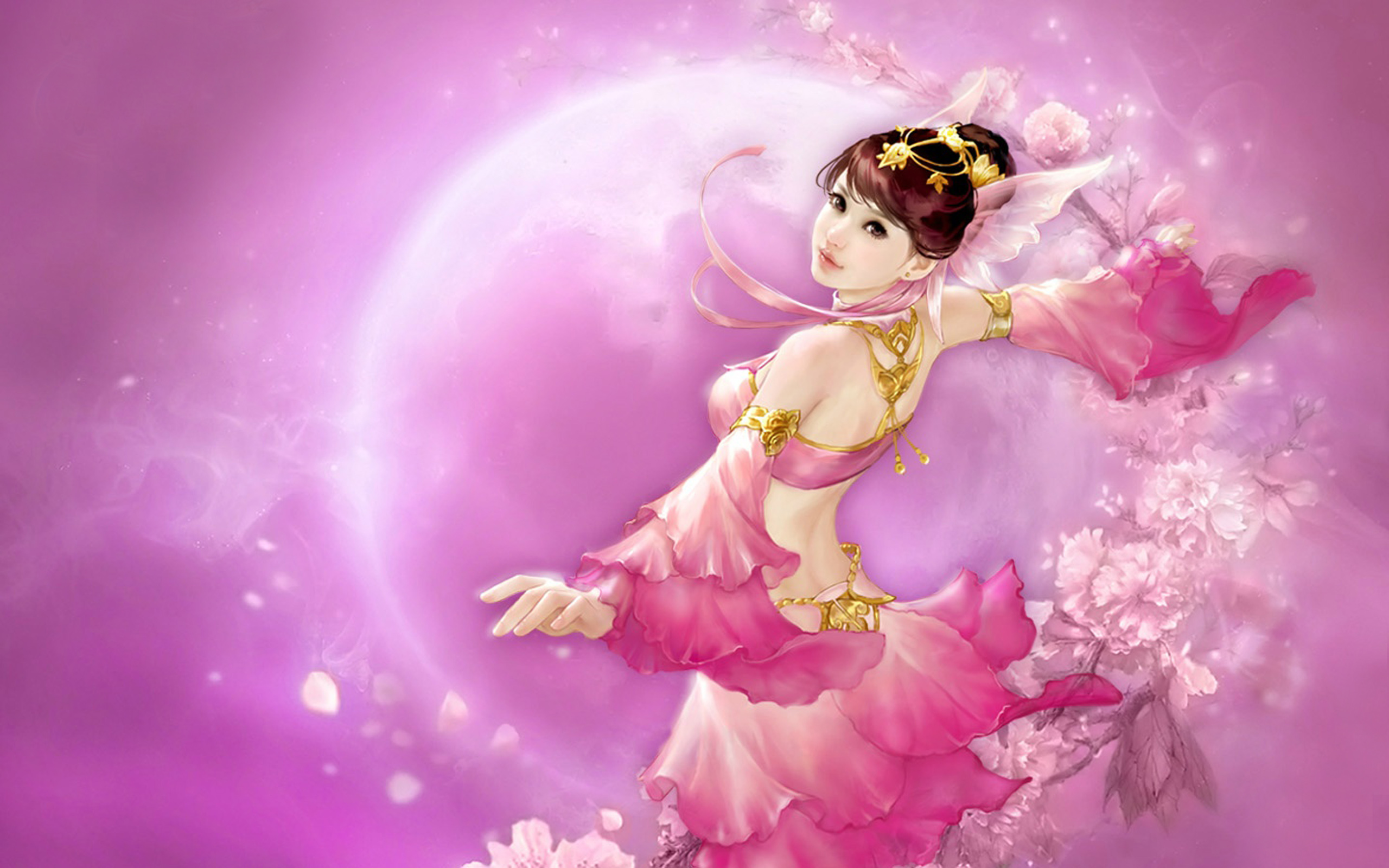 Dream Girl Hd Wallpaper Game Moon Shadow Legend Asian Girl Oriental Dance With