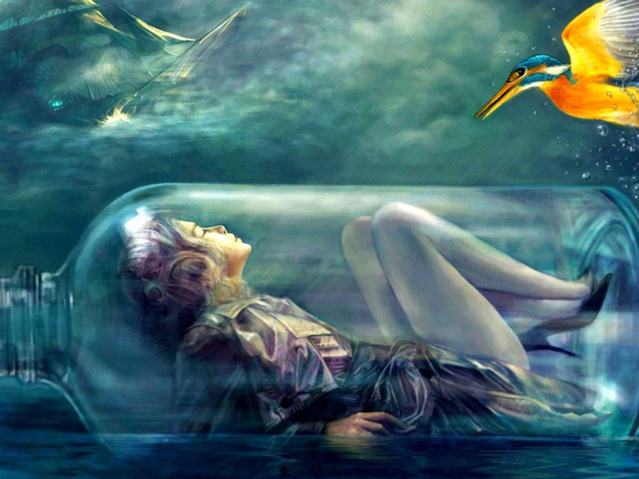 Red Dragon Girl Wallpaper Girl In A Glass Bottle Sea Ocean Bird Fantasy Hd Wallpaper