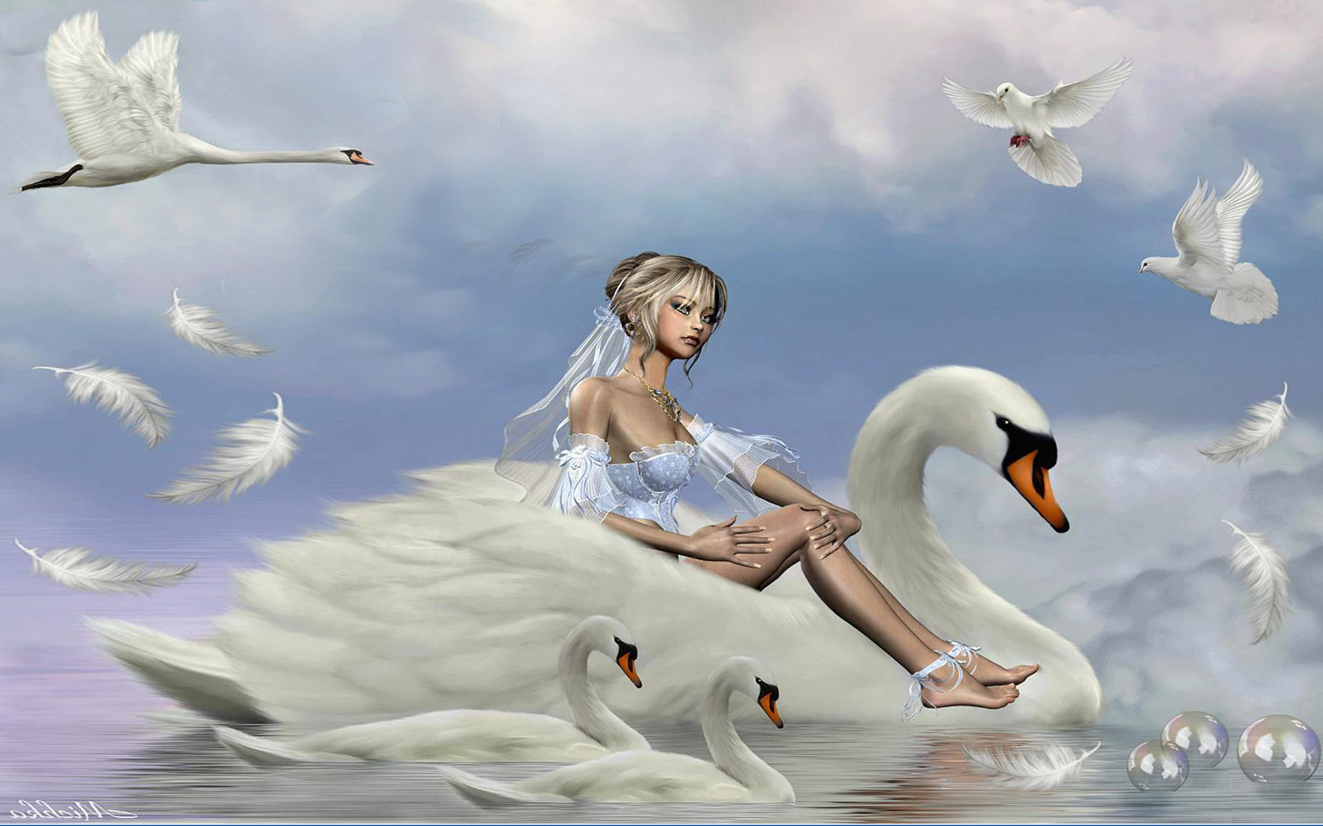 Fall Wallpaper With Owls Girl Riding A Swan Lake Accompanied By Swans And Pigeons