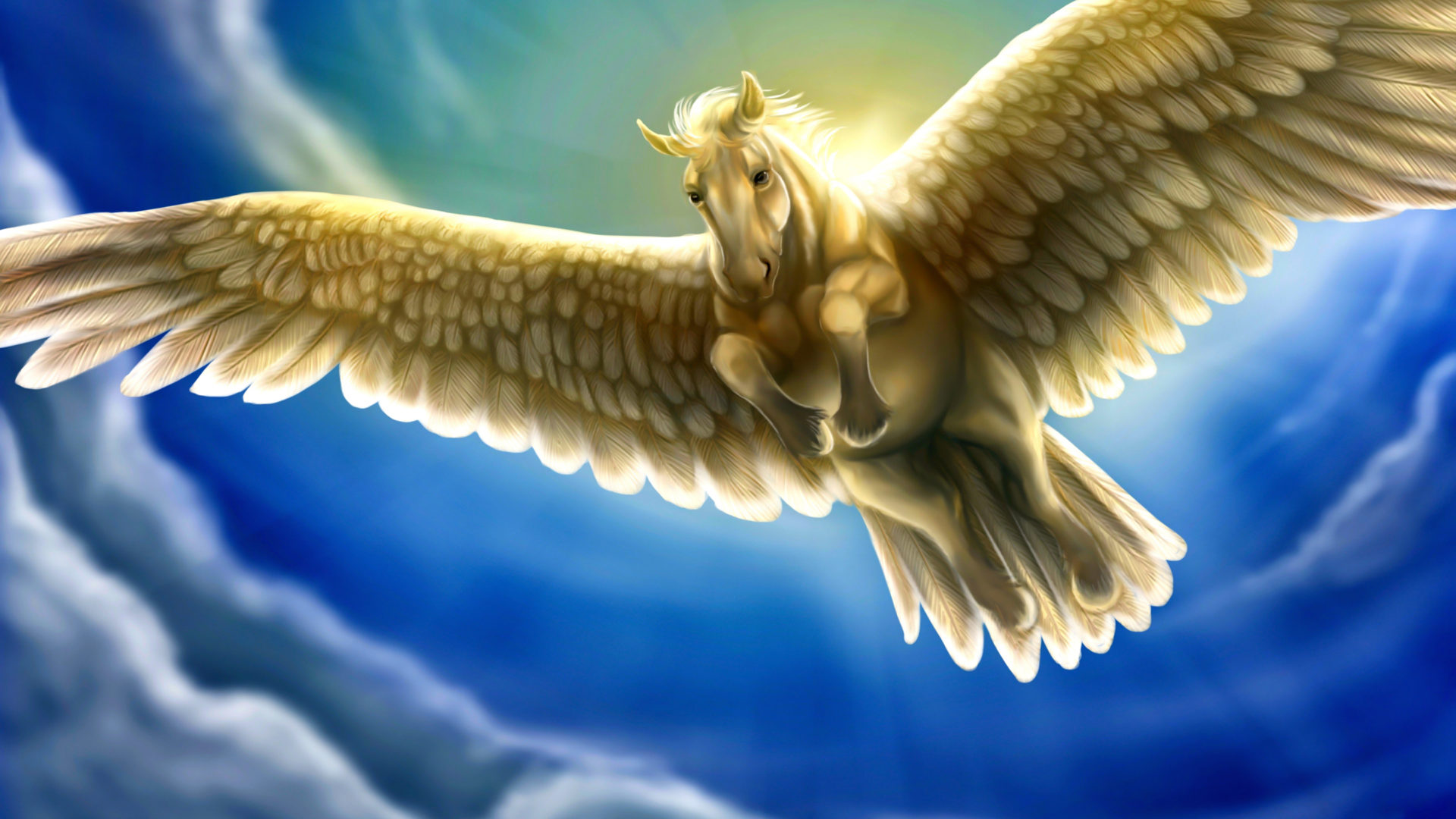 Running Horse 3d Wallpaper Heavenly White Horse With Wings Pegasus Fantasy Sky Blue