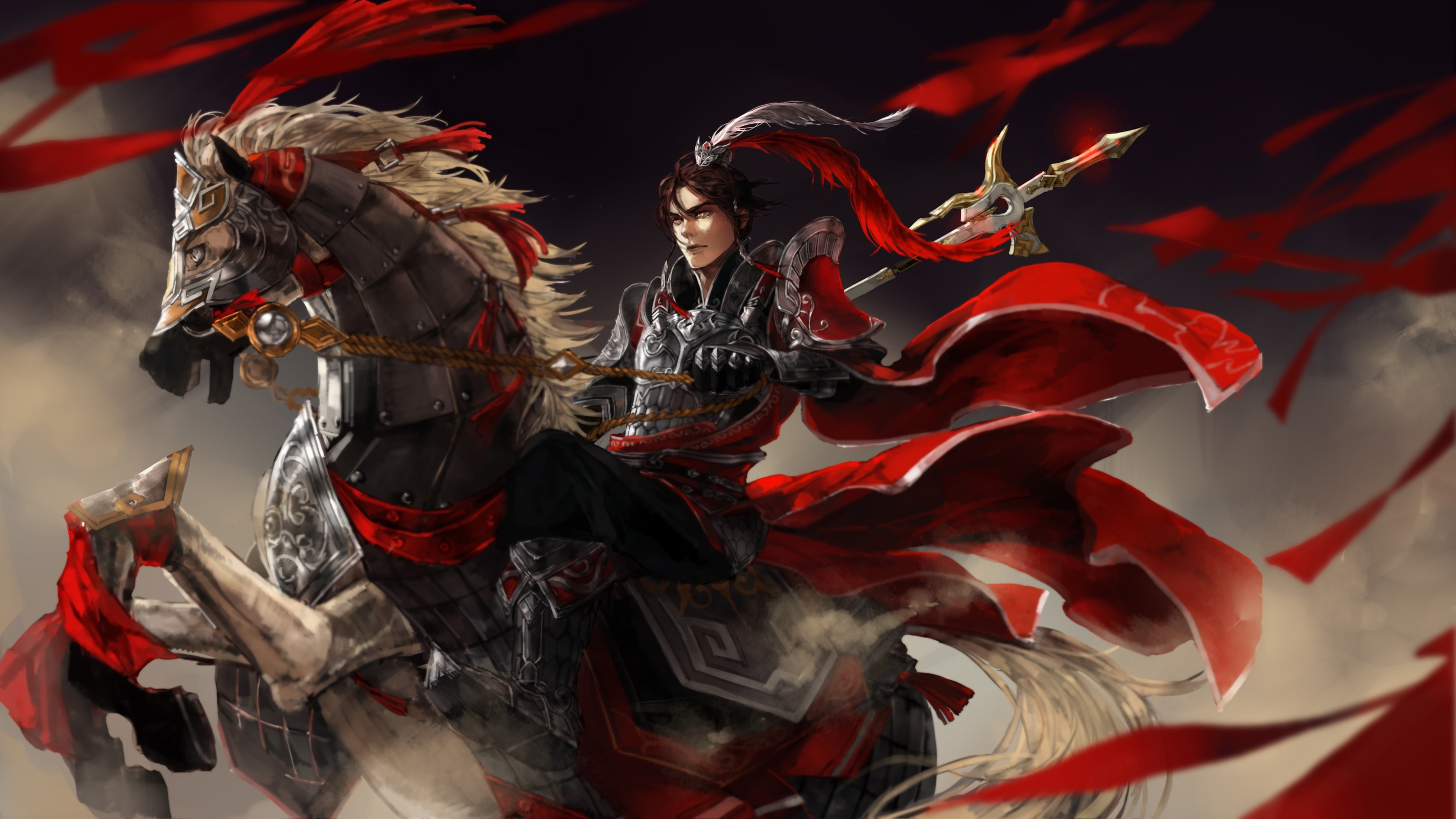 Girl With Spear Wallpaper Jian Wang 3 Ancient Warrior With A Red Cloak Feathered
