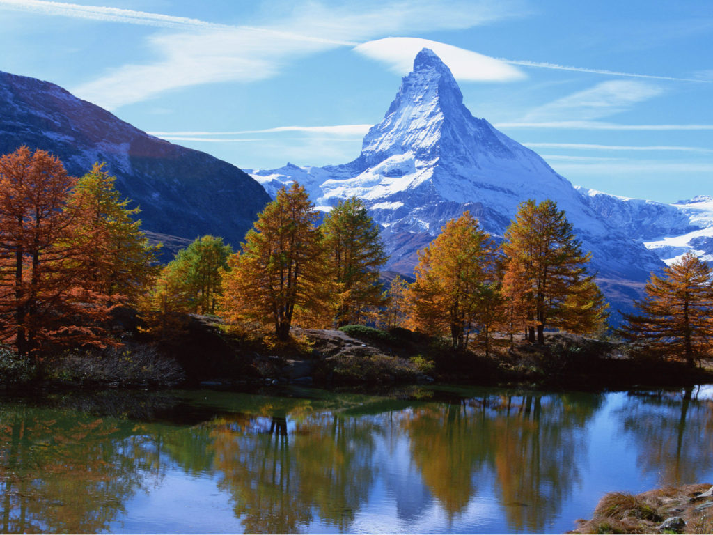 Fall Leaves Wallpaper For Ipad Landscape Mountain Rocky Alpine Peak With Snow Autumn