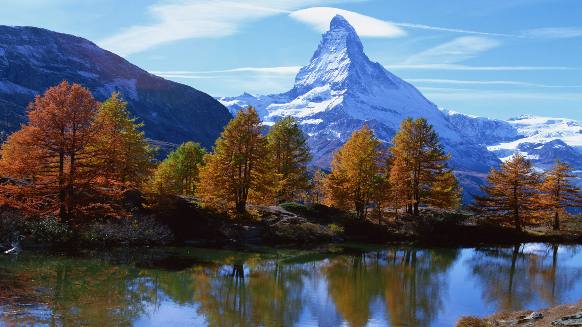 Red Fall Leaves Iphone Wallpaper Landscape Mountain Rocky Alpine Peak With Snow Autumn