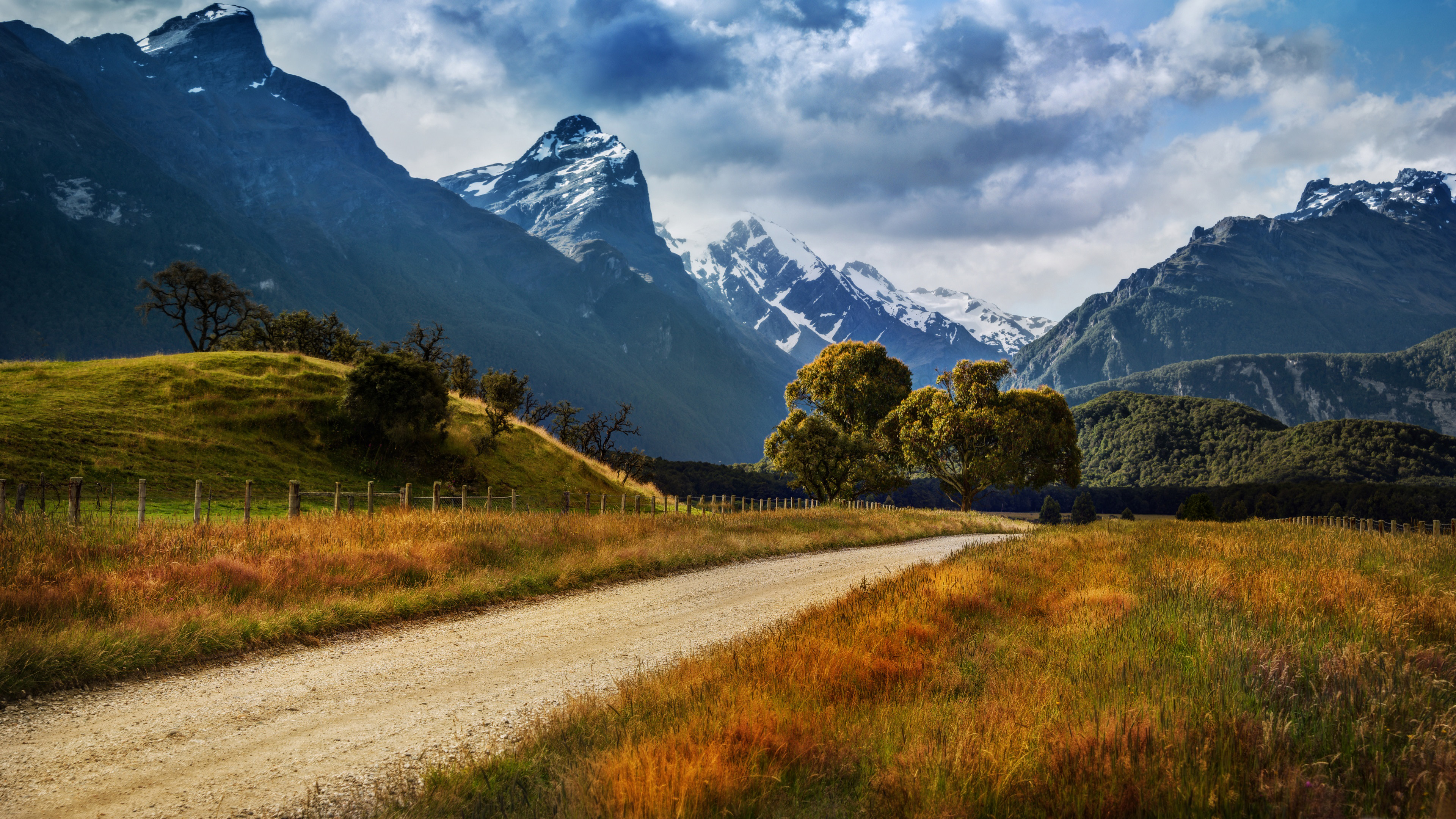 Beautiful Fall Scenery Wallpaper Landscape Of New Zealand Country Road Yellowed Grass
